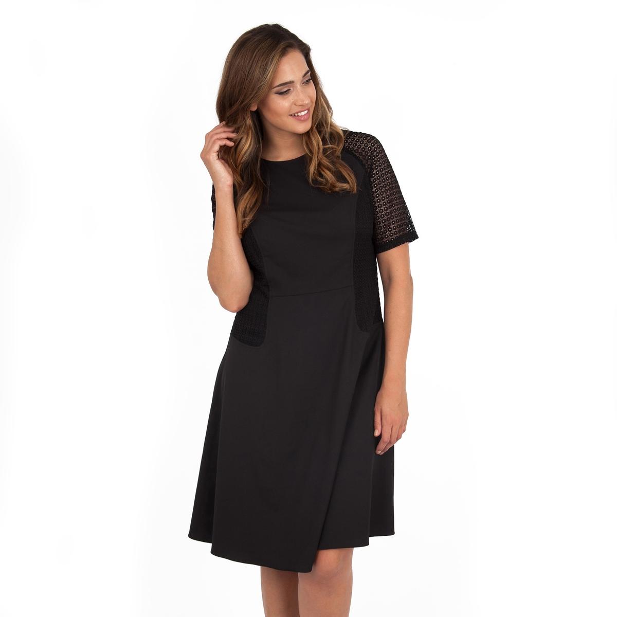 ПлатьеПлатье с короткими рукавами - KOKO BY KOKO. Красивые прозрачные рукава и вставки по бокам. Длина ок.104 см. 100% полиэстера.<br><br>Цвет: черный<br>Размер: 48 (FR) - 54 (RUS)