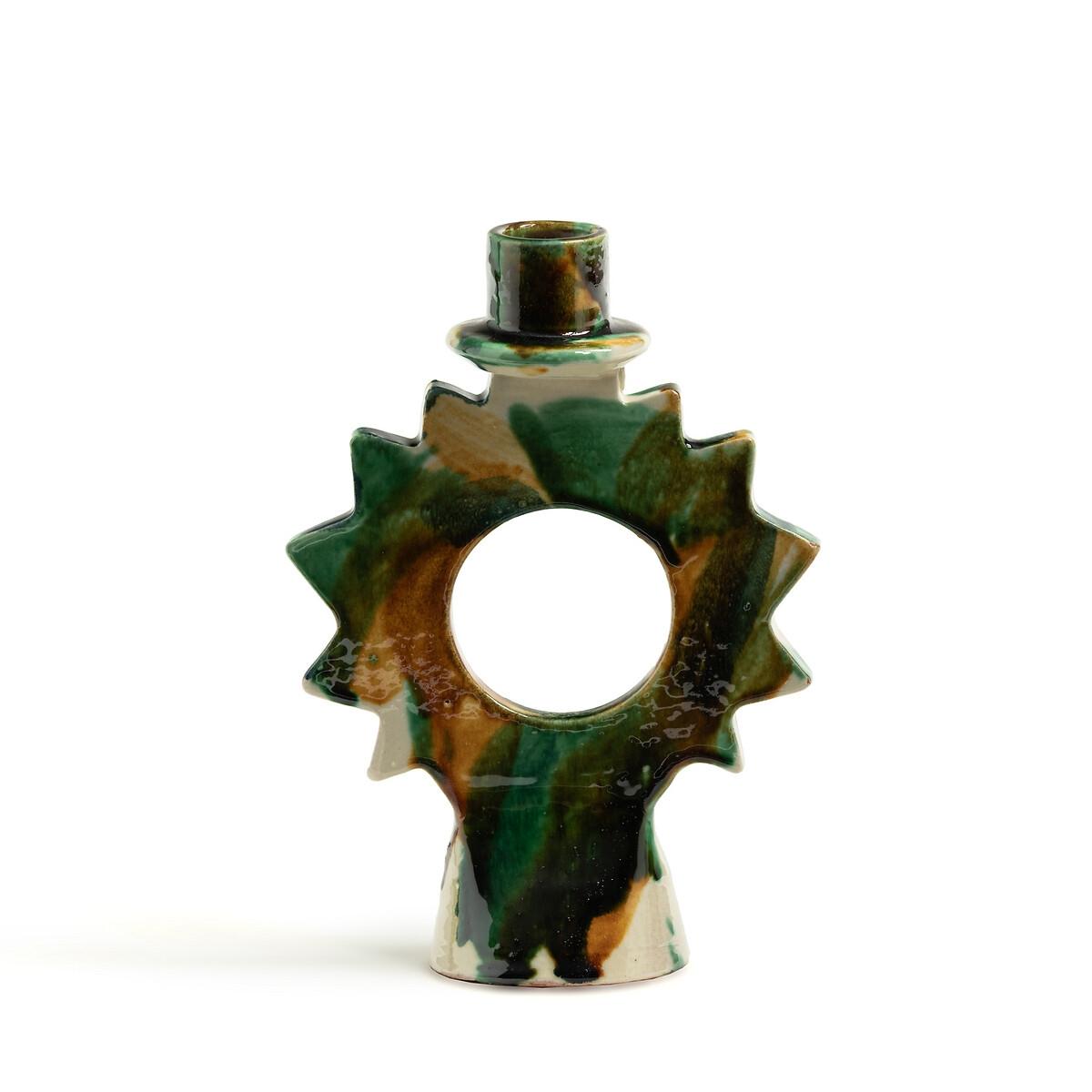 Подсвечник LaRedoute Из эмалированного фаянса В18 см Etoile единый размер зеленый