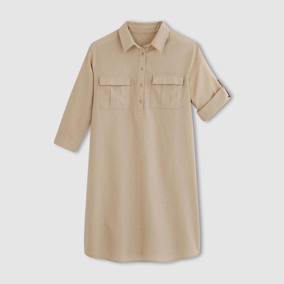 Платье из льна и хлопкаПлатье.  53% льна, 47% хлопка.  Рубашечный воротник с планкой застежки на пуговицы. 2 кармана с клапаном спереди. Длинные рукава с отворотами и планкой застежки на пуговицу. Закругленный низ. Длина ок.87 см.<br><br>Цвет: белый,серо-бежевый,синий морской<br>Размер: 42 (FR) - 48 (RUS).34 (FR) - 40 (RUS).34 (FR) - 40 (RUS).50 (FR) - 56 (RUS).34 (FR) - 40 (RUS)