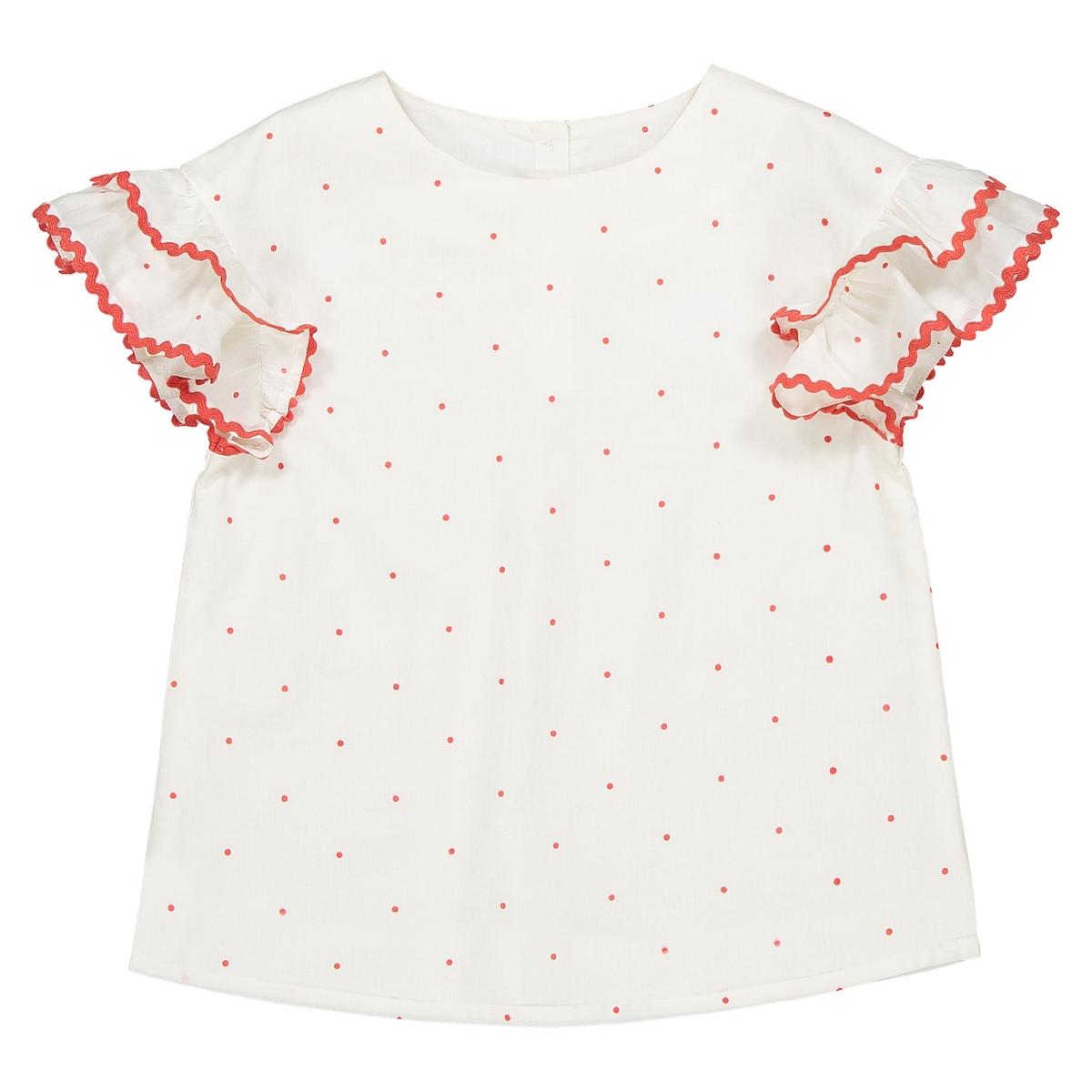 Блузка в горошек с воланами на рукавах, 3-12 лет