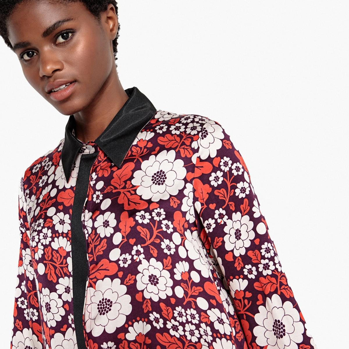Рубашка прямого покроя с цветочным рисунком рубашка прямого покроя большого размера с контрастными пуговицами
