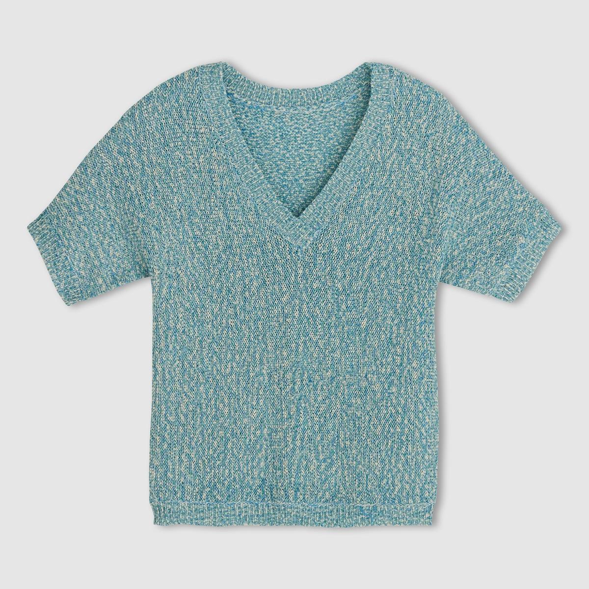 Пуловер из трикотажа меланж