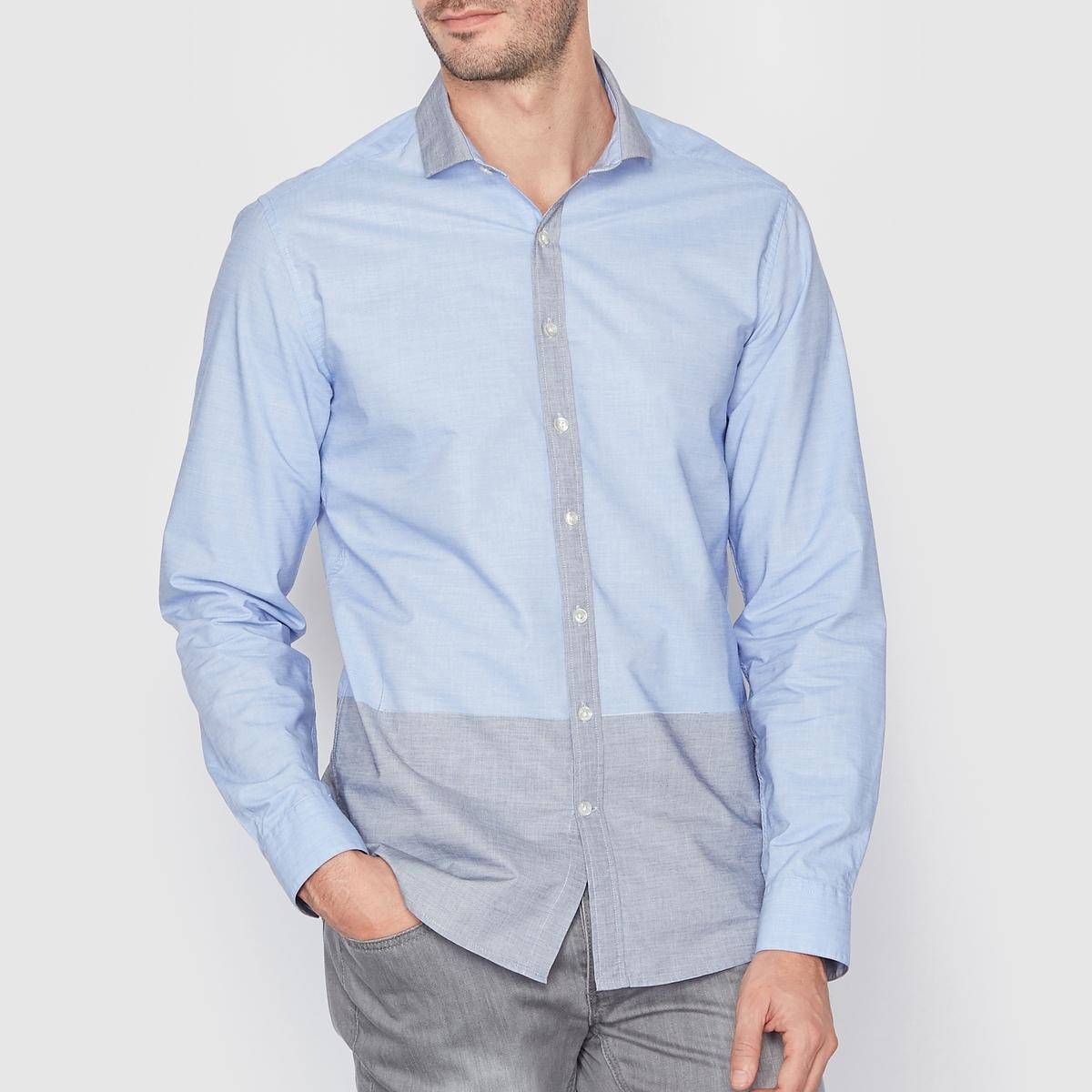 Рубашка двухцветная, 100% хлопкаРубашка в стиле кэжуал, узкого (облегающего) покроя, воротник с краями на пуговицы. Нагрудный карман . Воротник, планка с пуговицами и низ рубашки контрастного цвета. Длина 77 см. Блузка, 100% хлопка.<br><br>Цвет: синий<br>Размер: 47/48