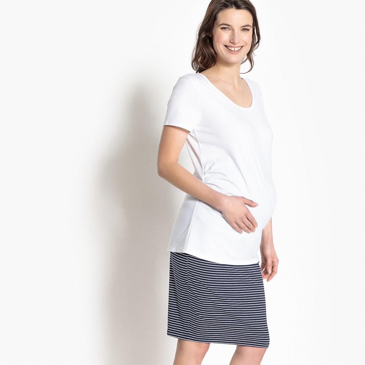 Футболка La Redoute Для периода беременности с плиссировкой на талии S белый платье la redoute из трикотажа для периода беременности s другие