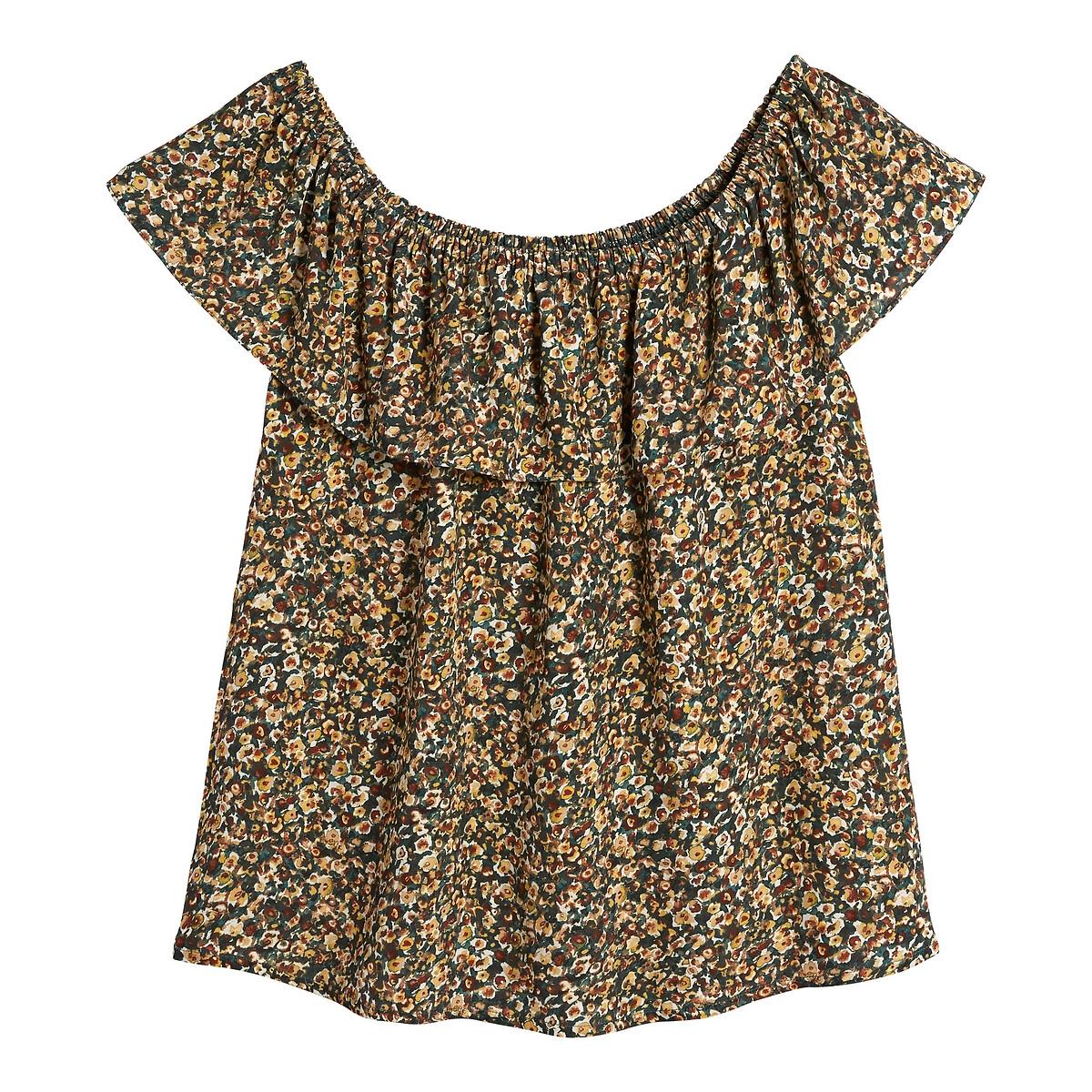 Блузка La Redoute Без рукавов с воланом цветочный принт 36 (FR) - 42 (RUS) разноцветный шифоновая блузка в цветочный принт