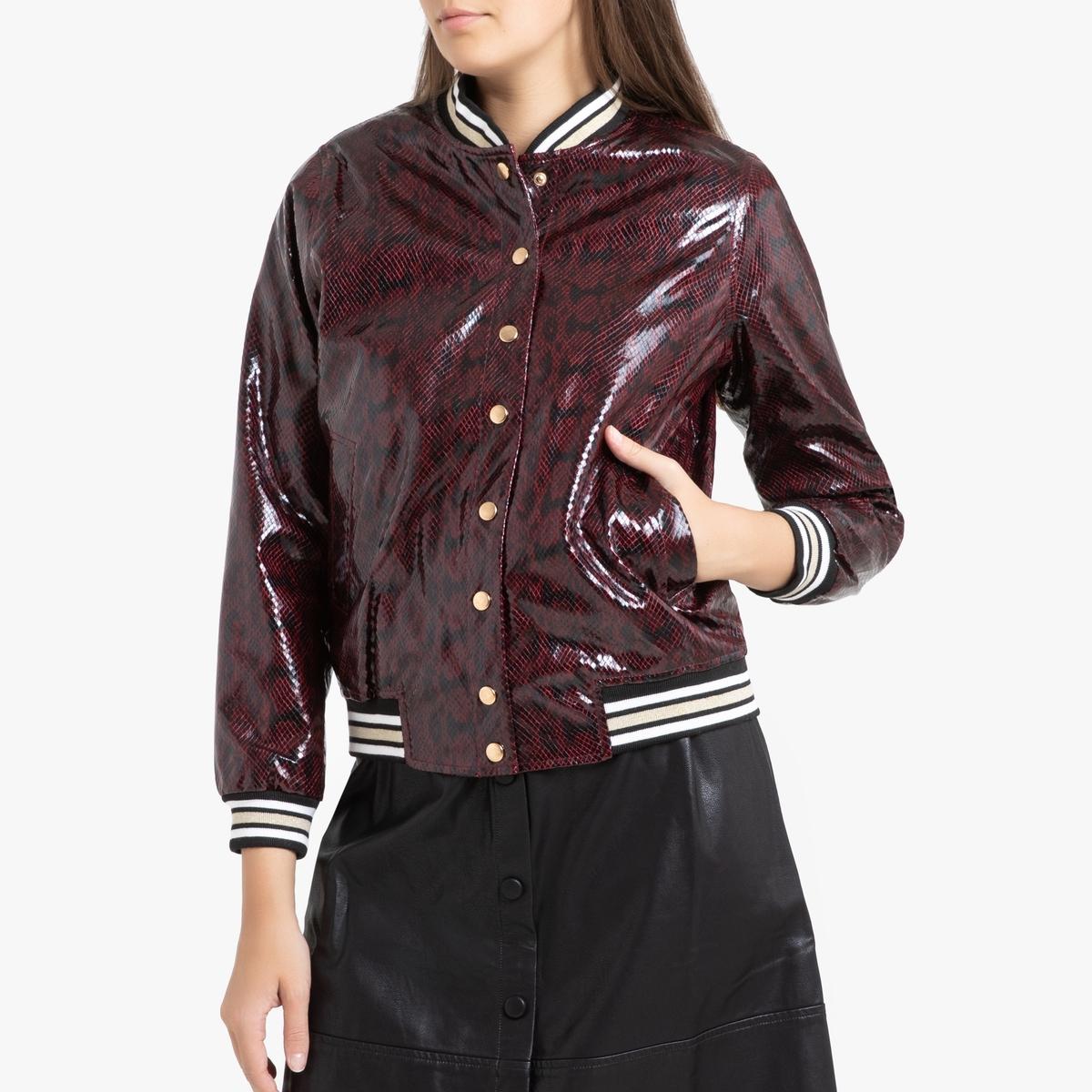 Блузон La Redoute Блестящий с рисунком под кожу питона LAURY L каштановый блузон