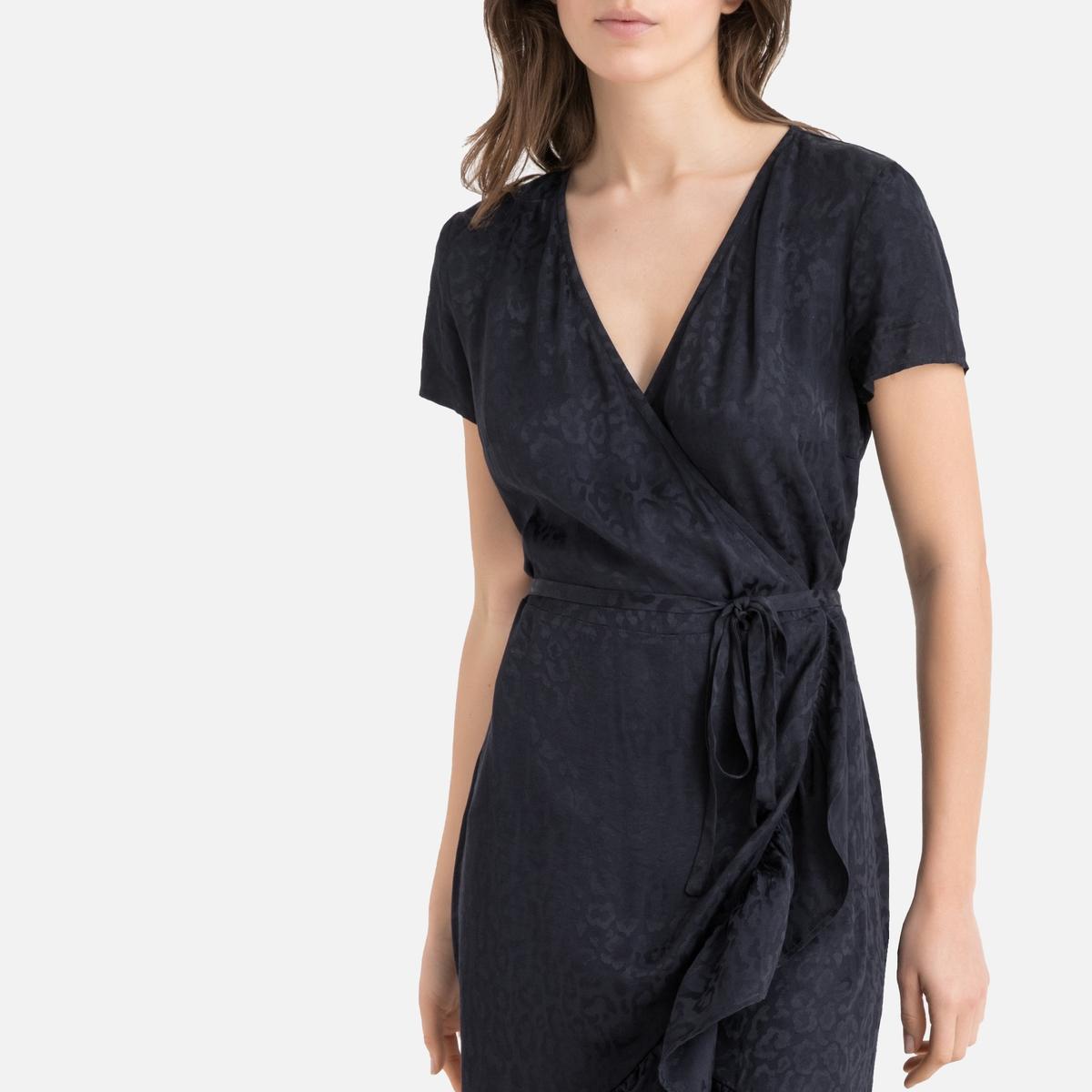 Платье-миди La Redoute С запахом с воланами 36 (FR) - 42 (RUS) синий платье миди la redoute с запахом струящееся m синий