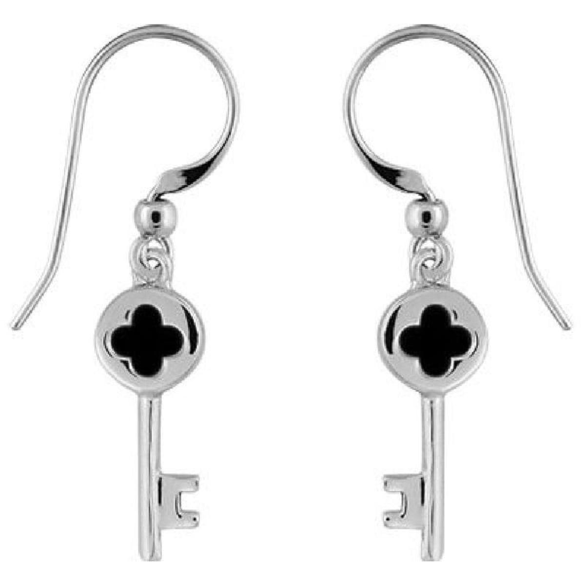 Boucles d'oreilles Pendant Joaillerie Clef Onyx Imitation Noir Sertissage Main Argent 925