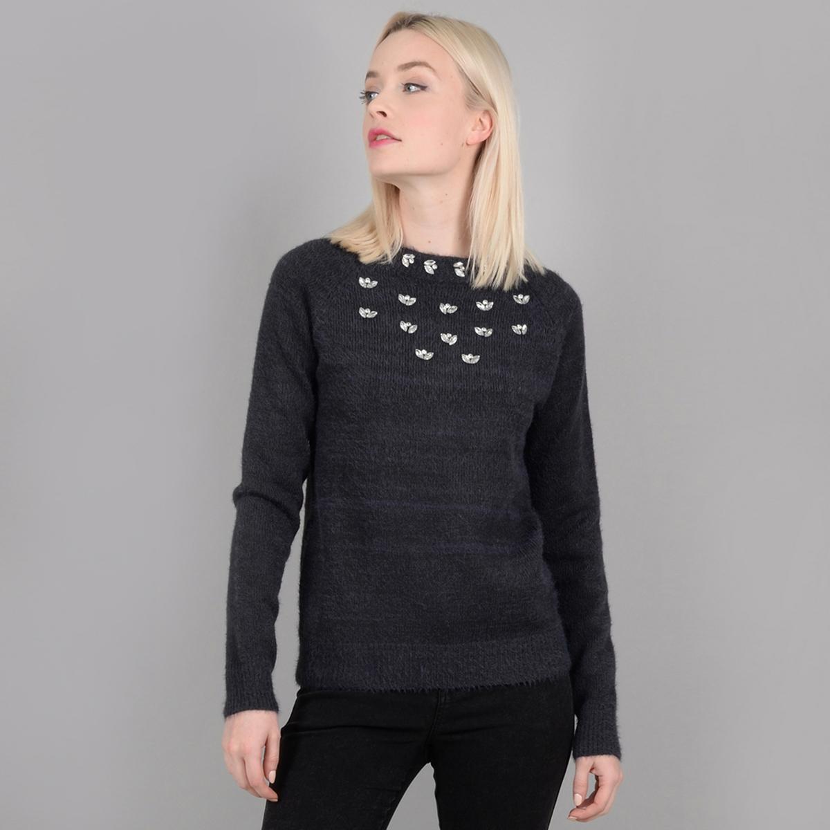 Пуловер из трикотажа с ворсом, с круглым вырезом и украшениями