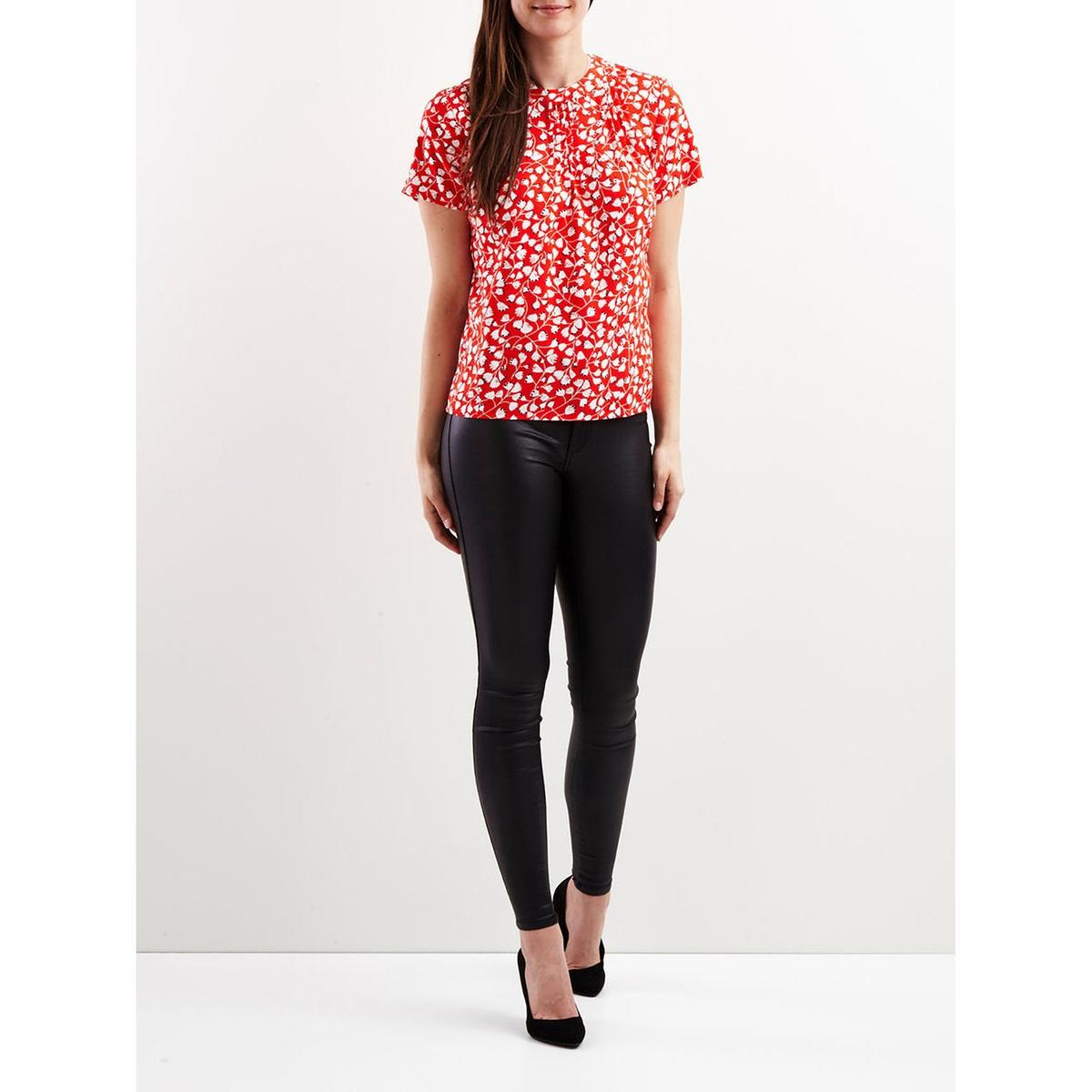 Блузка с круглым вырезом, рисунком и короткими рукавами блузка с круглым вырезом и короткими рукавами
