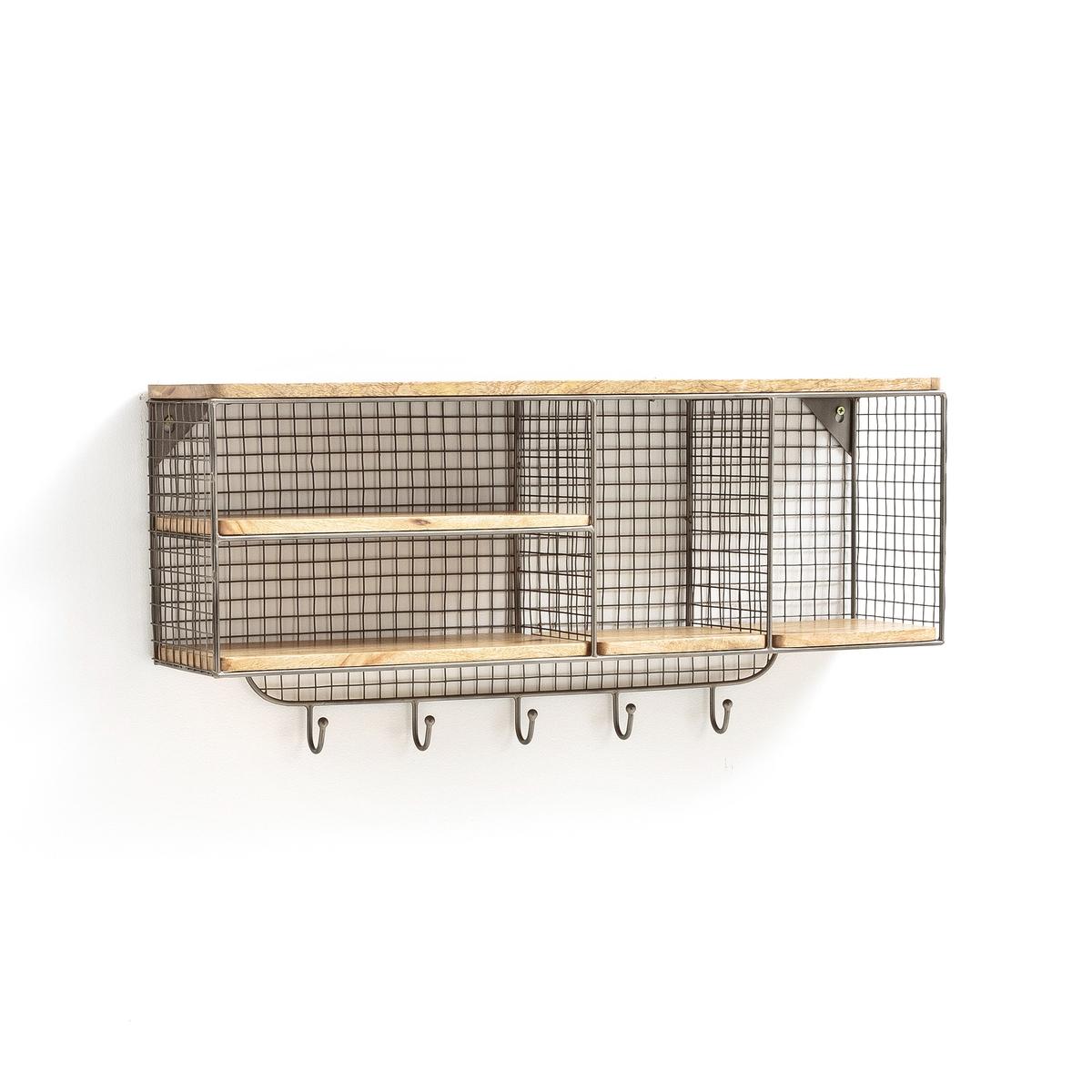 Этажерка-вешалка настеннаяОписание:Этажерка-вешалка настенная. Очень удобна для размещения ваших вещей личного пользования и верхней одежды на крючки.Описание этажерки-вешалки : Этажерка настенная 2 отделения из решетчатого металла с оцинковкой  + 2 полки из натурального массива мангового дерева 5 металлических крючковШурупы и дюбели продаются отдельноРазмеры этажерки-вешалки :Длина : 72 см Ширина: 15,5 см Высота : 38 смРазмеры и вес ящика :1 ящик 80 x 42 x 22 см .6,9 кгДоставка :Этажерка-вешалка продается готовой к сборке. Доставка осуществляется до квартиры  по предварительному согласованию!Внимание ! Убедитесь, что посылку возможно доставить на дом, учитывая ее габариты.<br><br>Цвет: дерево/металл