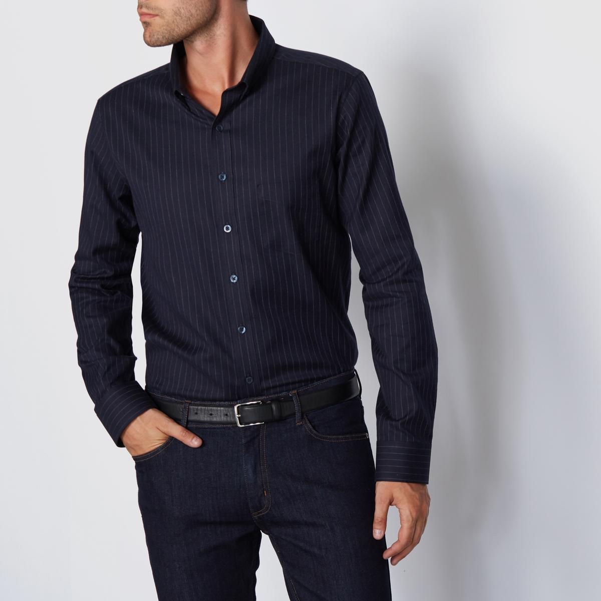 Рубашка прямого покроя с длинными рукавами, 100% хлопокРубашка в полоску. Прямой крой, классический воротник с уголками на пуговицах. Низ рукавов с застежкой на пуговицы. Состав и описаниеМатериал : 100% хлопок  Длина : 76 смМарка : R essentielУходМашинная стирка при 30 °CСтирать с вещами схожих цветовГладить с изнаночной стороны.<br><br>Цвет: темно-синий в полоску<br>Размер: 37/38