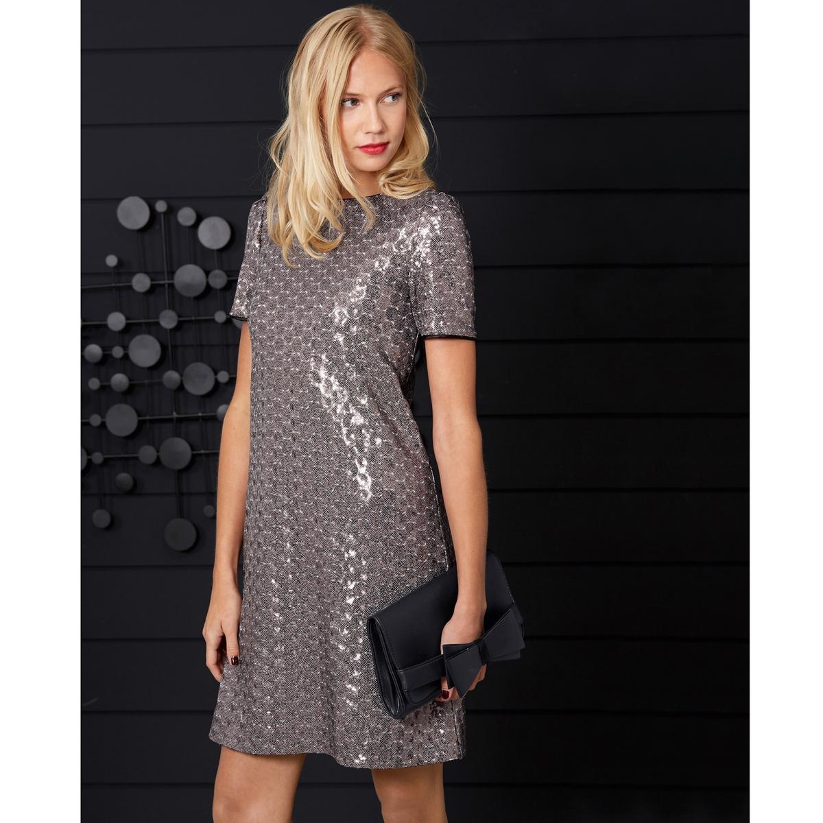 Платье с блестками, Mademoiselle R.Платье с блестками, Mademoiselle R . Круглый вырез, декольте с пуговицей на спине и застежка-невидимка. Сборки на коротких рукавах.  100% полиэстера на подкладке, 100% вискозы. Длина 88 см .<br><br>Цвет: серебристый<br>Размер: 36 (FR) - 42 (RUS)