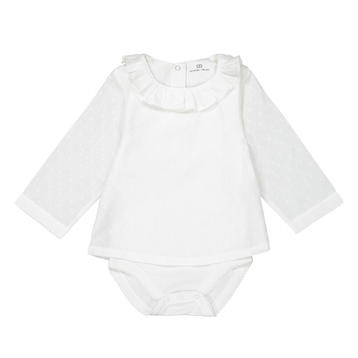 Blusa-body, decote com folho, 0 mês-3anos