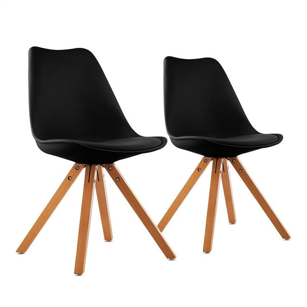 Onassis Set De 2 Chaises Design RéTro Avec Coussin - Noir