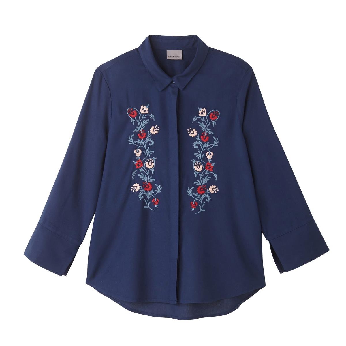 Рубашка однотонная с воротником-поло и длинными рукавамиДетали •  Длинные рукава •  Прямой покрой  •  Воротник-поло, рубашечный Состав и уход •  100% вискоза •  Следуйте советам по уходу, указанным на этикетке<br><br>Цвет: синий морской<br>Размер: XL