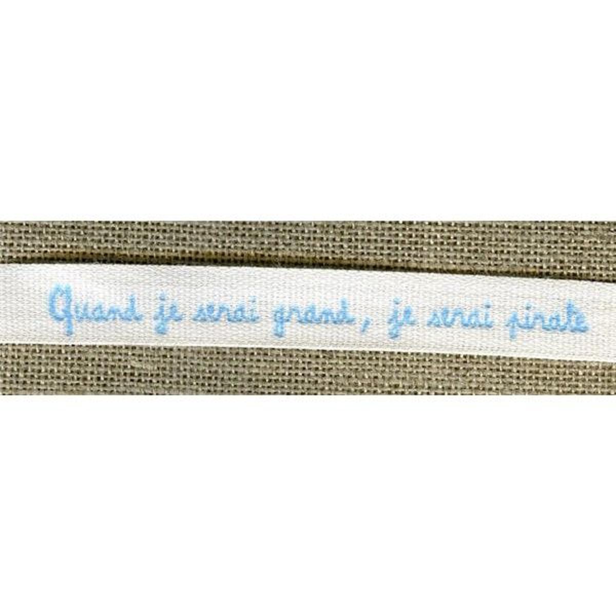 Ruban Imprimé Blanc Lettrage Bleu: Quand Je Serai Grand