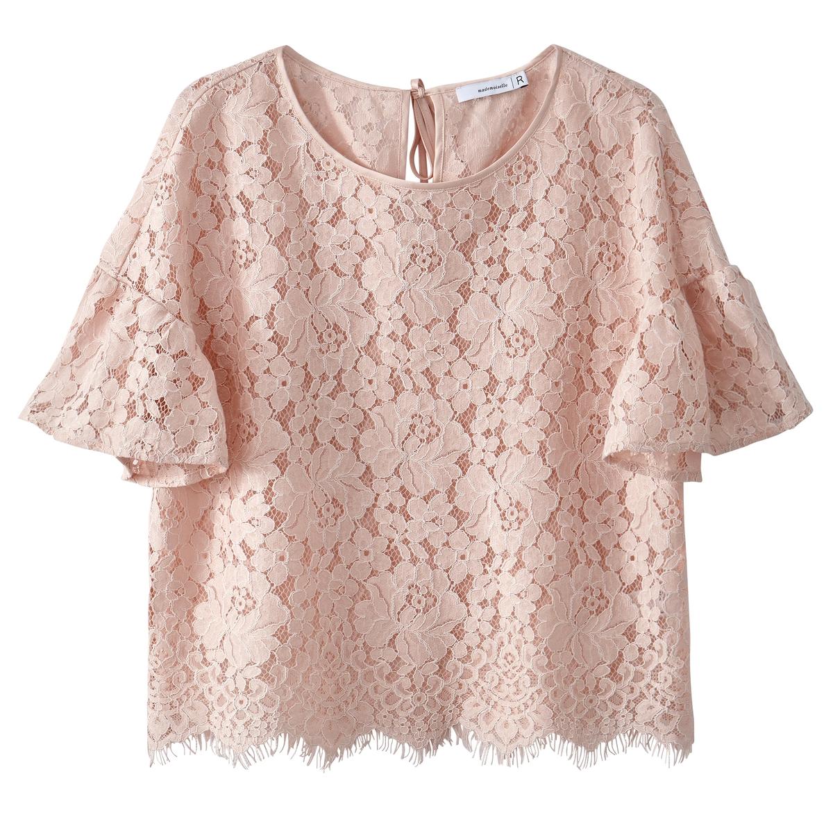 Блузка кружевная с воланами на рукавах