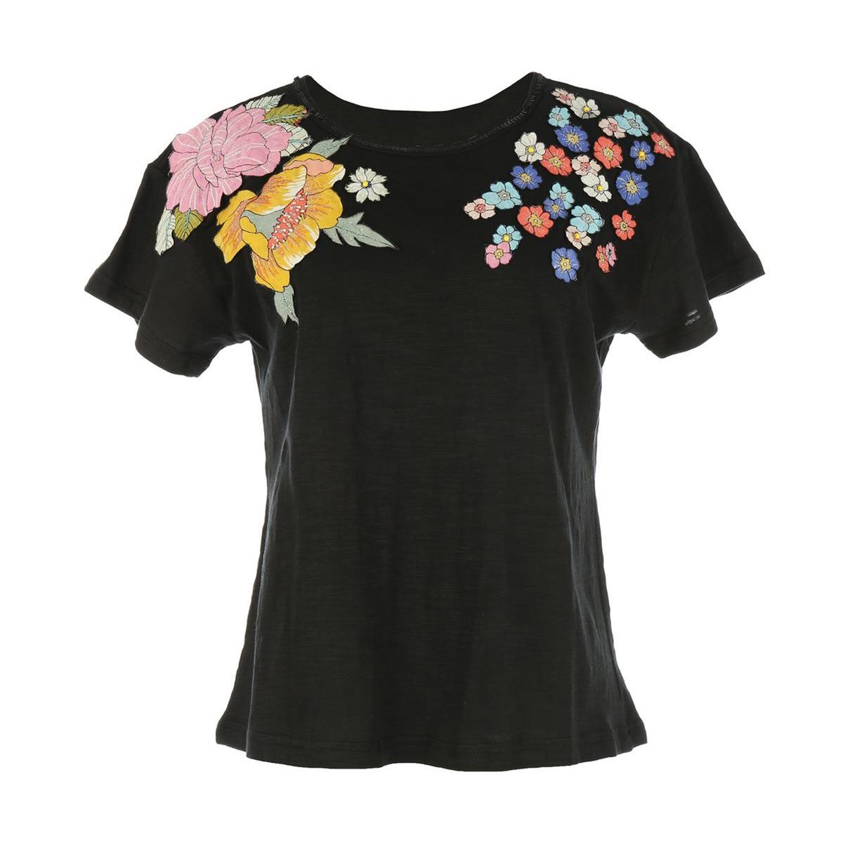 T-shirt de gola redonda, motivo floral, Neuilly