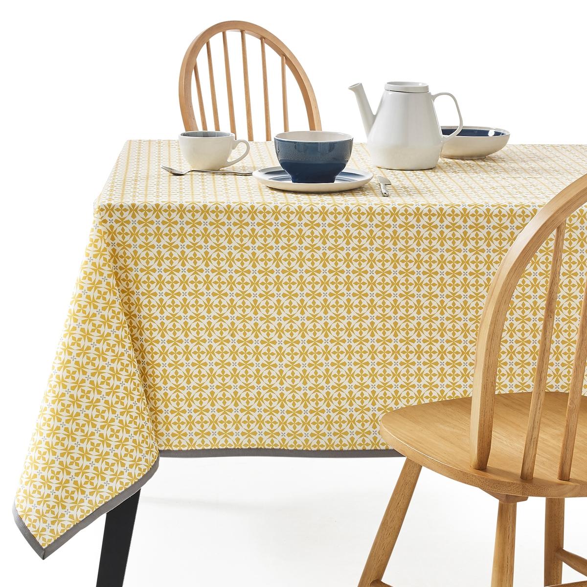 цена Скатерть La Redoute С рисунком и пропиткой против пятен AZILA 150 x 300 см желтый онлайн в 2017 году