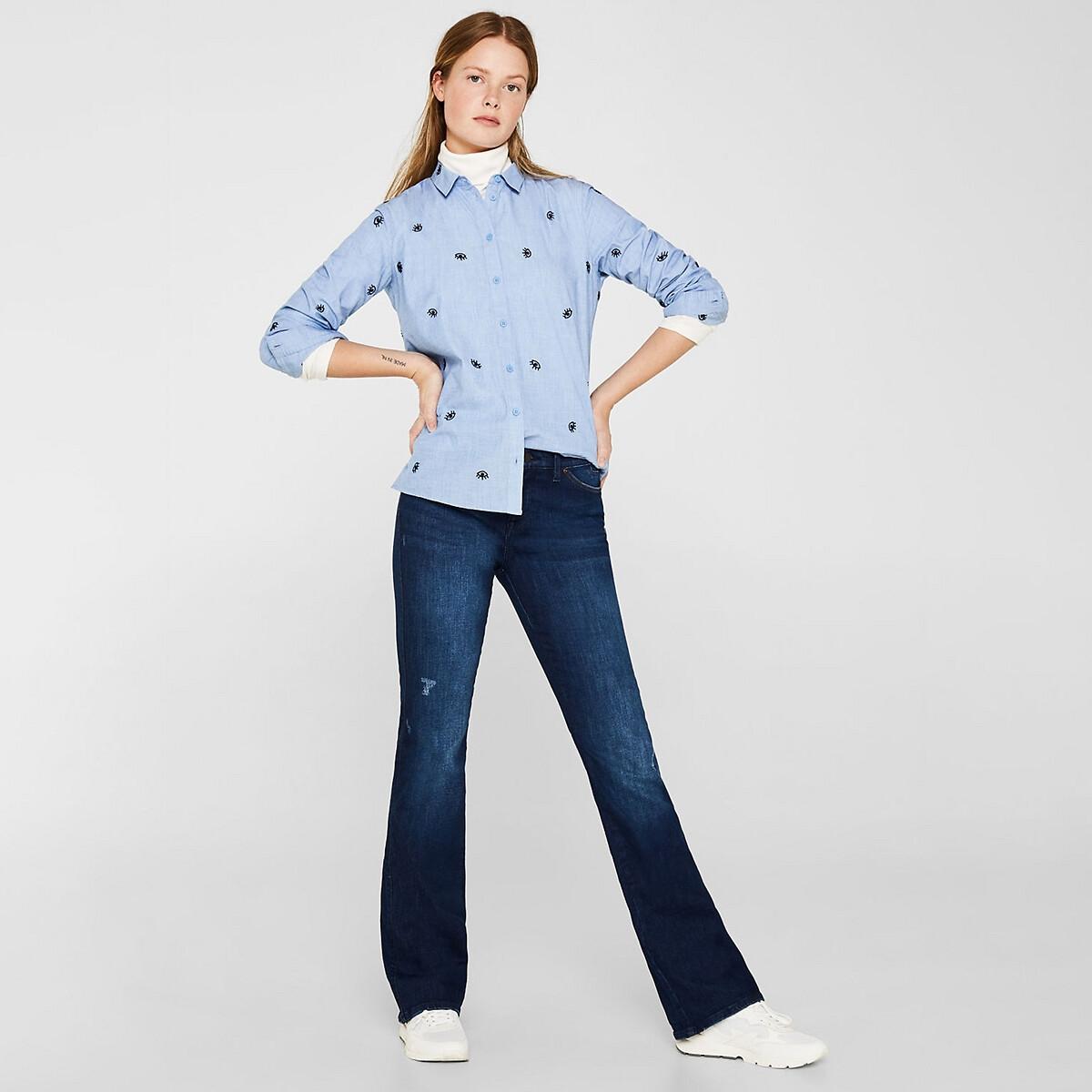 Camisa con bordados, de algodón orgánico