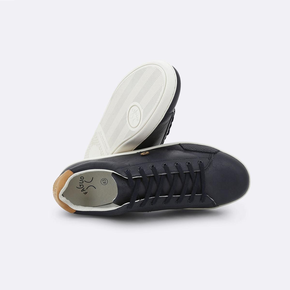 Кеды кожаные Hosta03Верх : кожа         Подкладка : кожа         Стелька : текстиль         Подошва : ЭВА         Высота каблука : 1 см         Застежка : шнуровка<br><br>Цвет: темно-синий