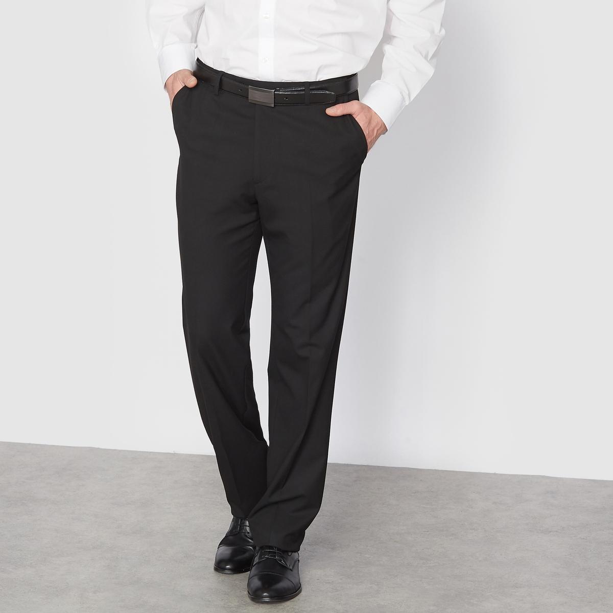 Брюки от костюма без защипов из ткани стретч, длина.2Брюки от костюма без защипов, длина 2. Высококачественная эластичная ткань, 62% полиэстера, 33% вискозы, 5% эластана. Подкладка 100% полиэстер. Длина 2 : при росте от 187 см.Можно носить как в сочетании с пиджаком, так и отдельно. Полнота пояса регулируется и подстраивается под любую морфологию. Застежка на молнию, пуговицу и крючок. 2 косых кармана. 1 прорезной карман с пуговицей сзади. Необработанный низ. Длина 2 : при росте от 187 см.- Длина по внутр.шву : 91,8-94,8 см, в зависимости от размера. - Ширина по низу : 21,4-27,4 см, в зависимости от размера. Есть также модель длины 1: при росте до 187 см. Есть также модель с защипами.<br><br>Цвет: антрацит,темно-синий,черный<br>Размер: 48 (FR) - 54 (RUS).52 (FR) - 58 (RUS).58.64.48 (FR) - 54 (RUS).58.54.52 (FR) - 58 (RUS).54