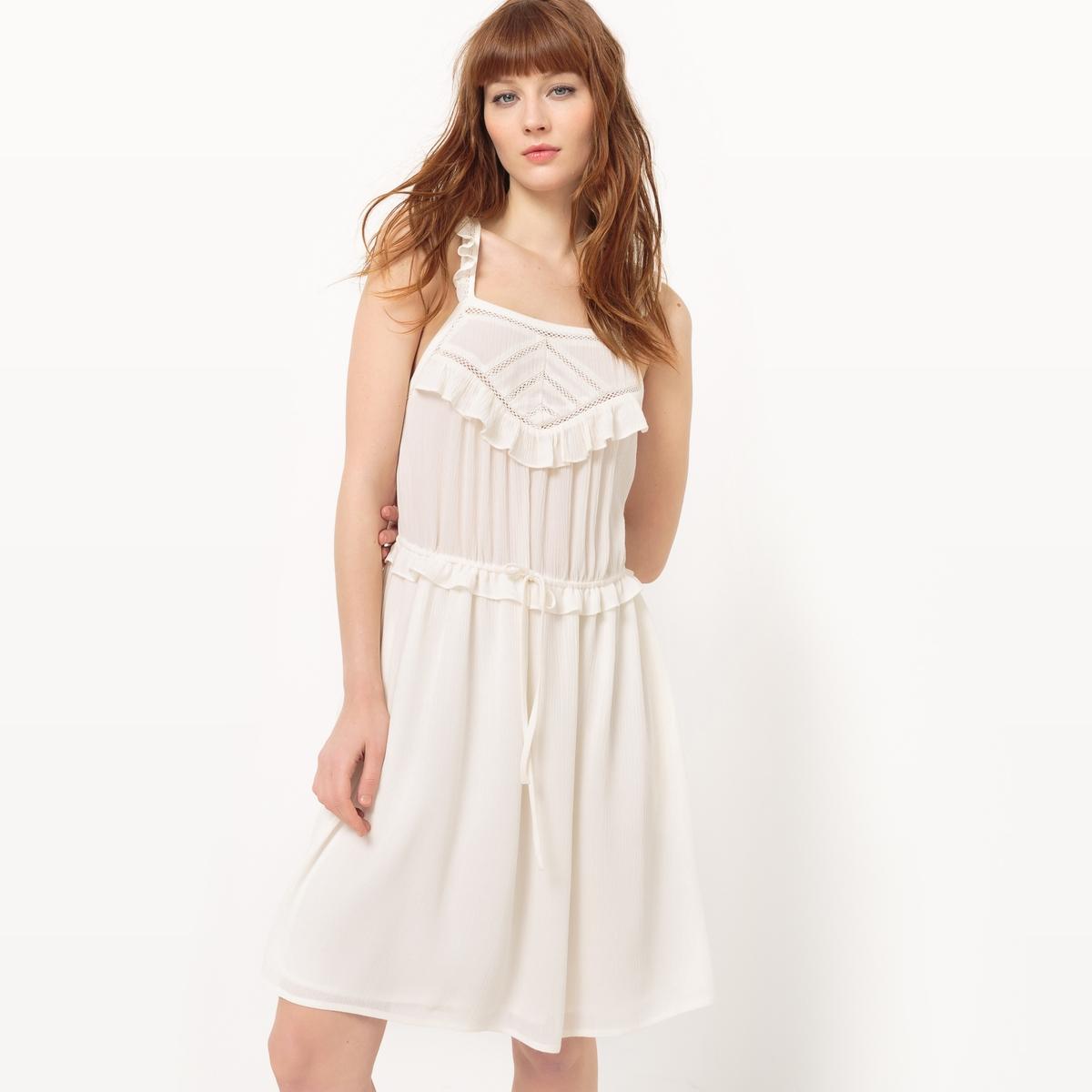 Платье на бретелях с воланами и открытой спинкой