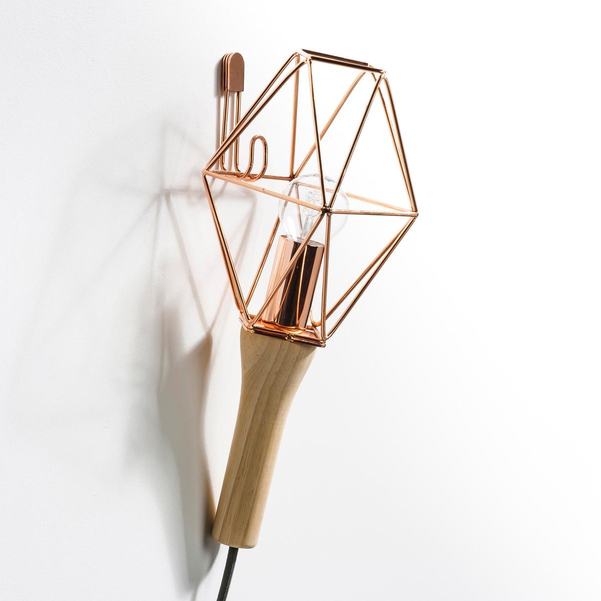 Лампа переносная, NomadeХарактеристики : - Ручка из дуба. - Проволочный каркас из металла, покрытого черной эпоксидной краской, медное, латунное или хромированное покрытие- Кабель с оболочкой из текстиля черного цвета.- Патрон E14 для лампы 40 Вт (продается отдельно). - Совместима с лампами класса энергопотребления A-B-C-D-E.       Размеры : - Ручка : длина. 13,5 см.- Абажур из металлической проволоки : ширина. 15,2 см x длина. 18 см.- Кабель длиной 2,5 метра.<br><br>Цвет: медный