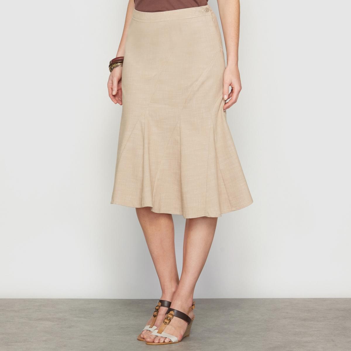 Юбка асимметричная из денима стретчАсимметричная джинсовая юбка . Пояс с невидимой застежкой на молнию и пуговицу. Оригинальные отрезные детали спереди и сзади, слегка контрастные видимые строчки. Длина . 62 см .    Ткань с преимуществами денима, но более тонкая и легкая . 62% хлопка, 37% полиэстера, 1% эластана .<br><br>Цвет: бежевый<br>Размер: 44 (FR) - 50 (RUS).48 (FR) - 54 (RUS)