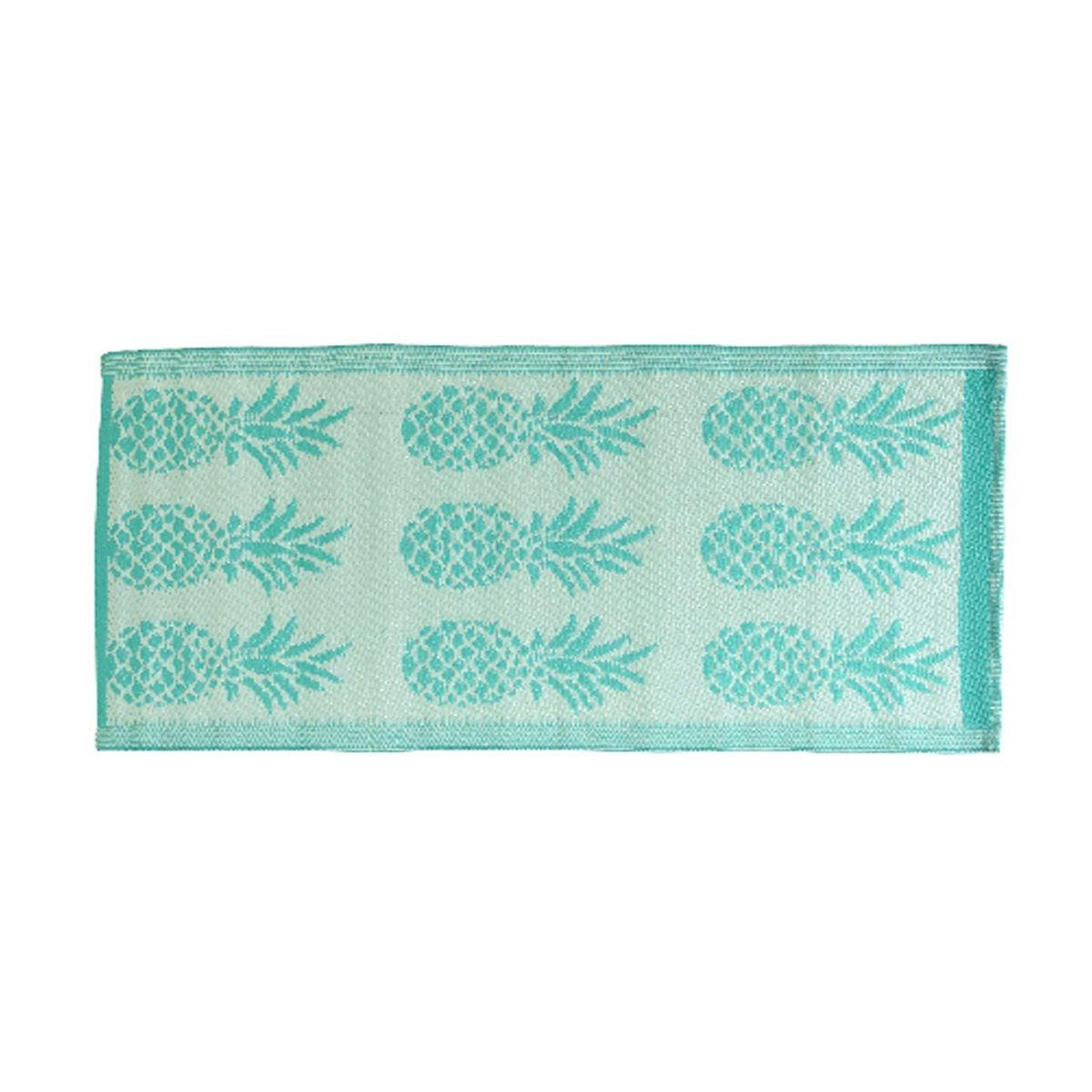 Tapis rectangulaire en polypropylène 140 x 70 cm motifs ananas Vert - Jardideco