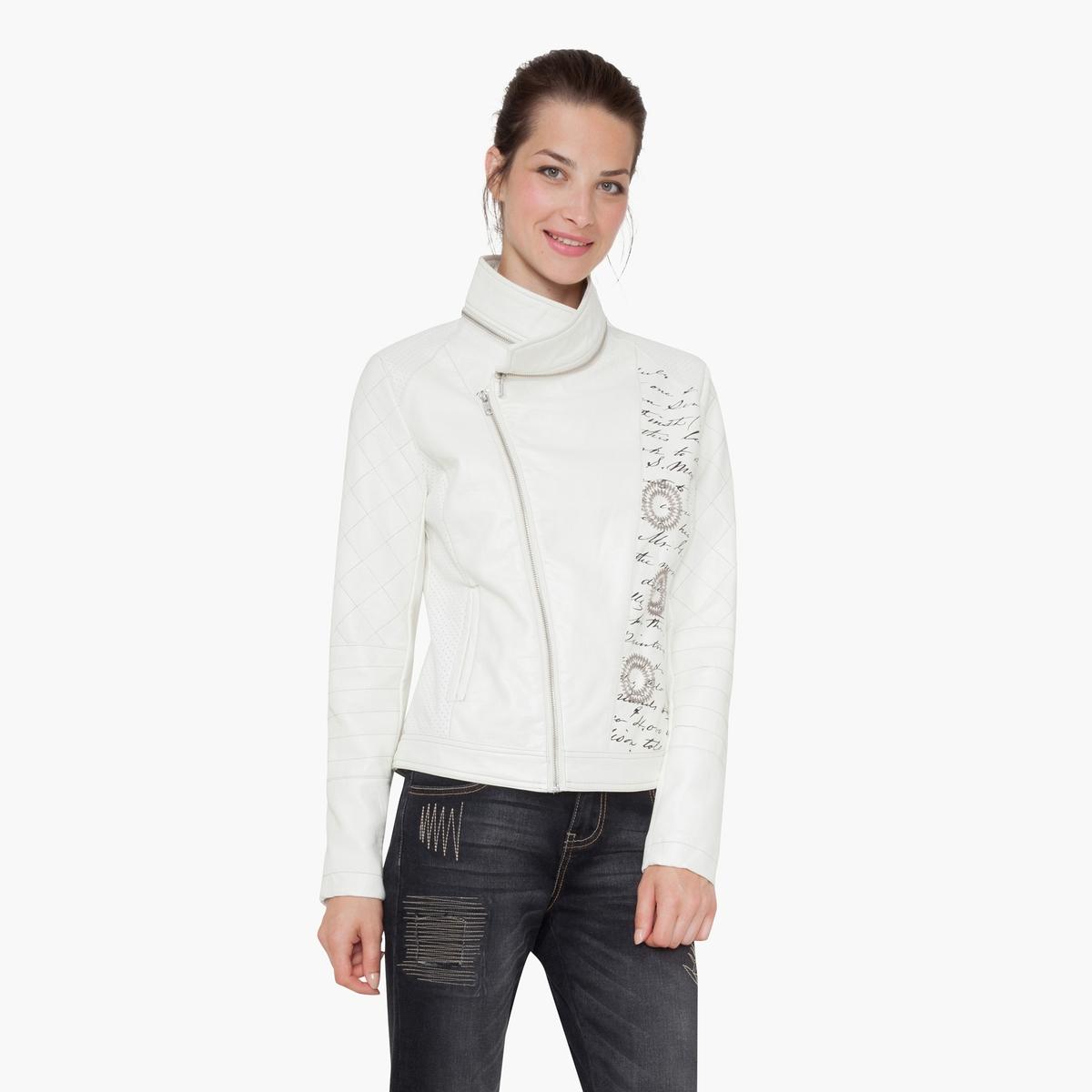 Куртка на молнииМатериал: 100% полиуретана.Тип застежки: застежка на молнию. Форма воротника: без воротника.Длина изделия: короткий.Рисунок: однотонная модель.<br><br>Цвет: экрю