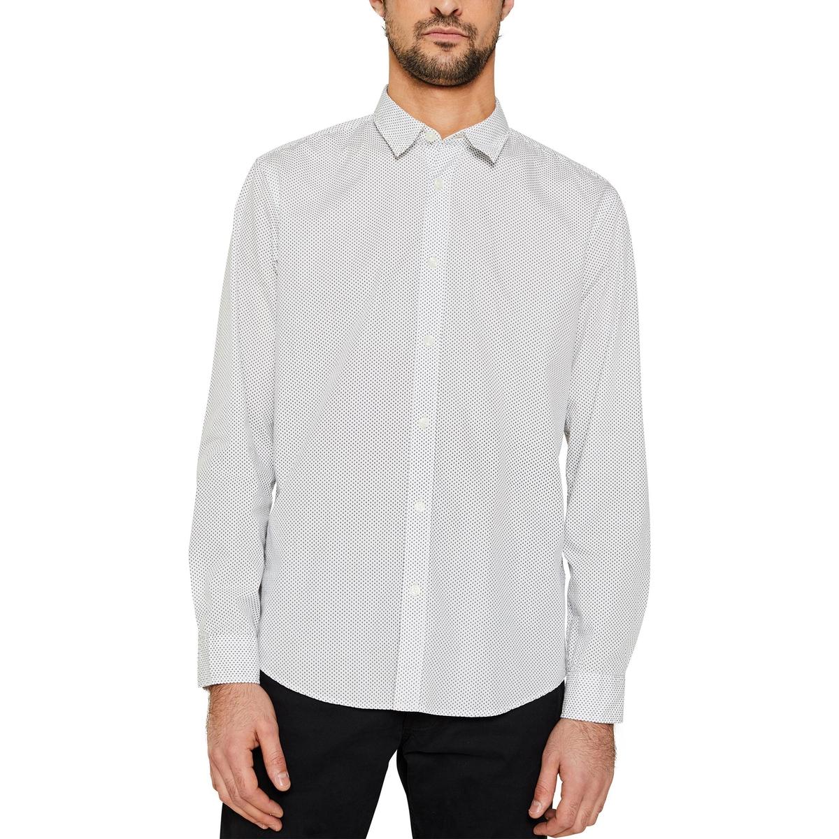 Camisa recta de popelina, estampada