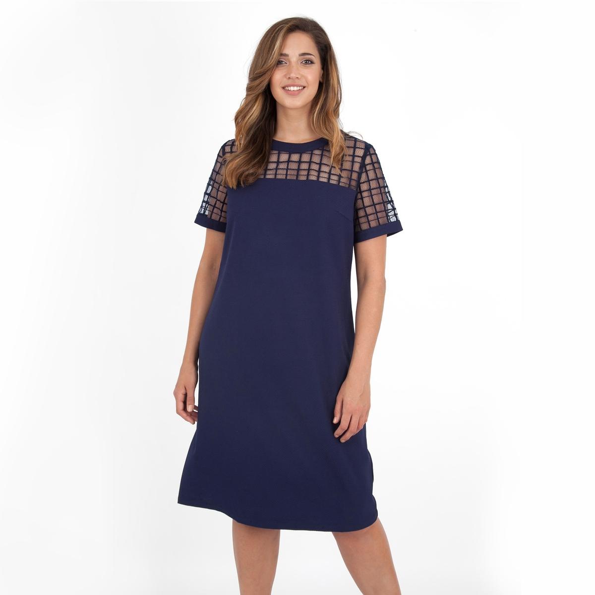 ПлатьеПлатье с короткими рукавами - LOVEDROBE.  Застежка на молнию сзади. Длина ок.104 см. 100% полиэстера.<br><br>Цвет: синий морской<br>Размер: 58/60 (FR) - 64/66 (RUS).46 (FR) - 52 (RUS)