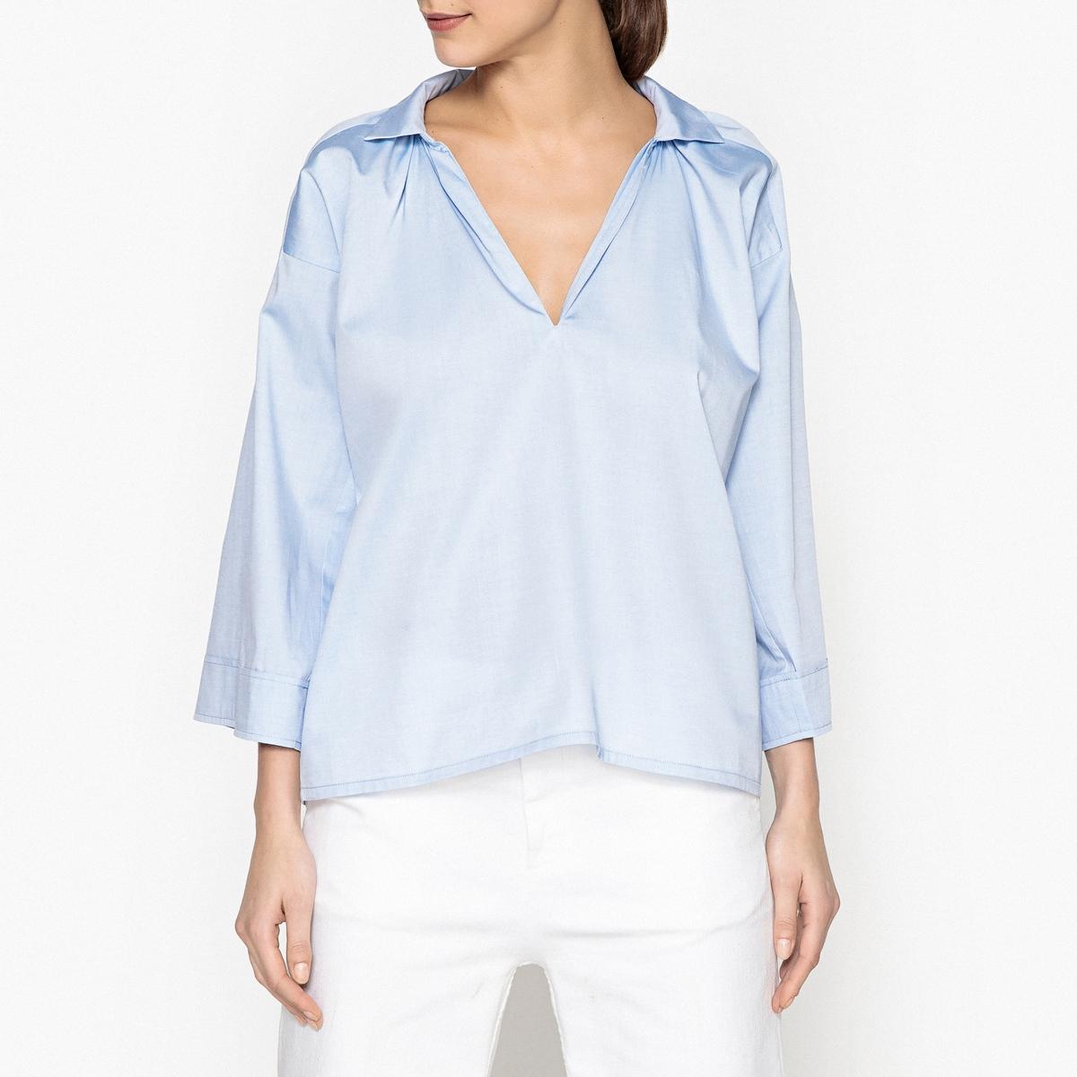 Рубашка LaRedoute Широкого покроя MOSS S синий блузка laredoute прямого покроя с бахромой l бежевый