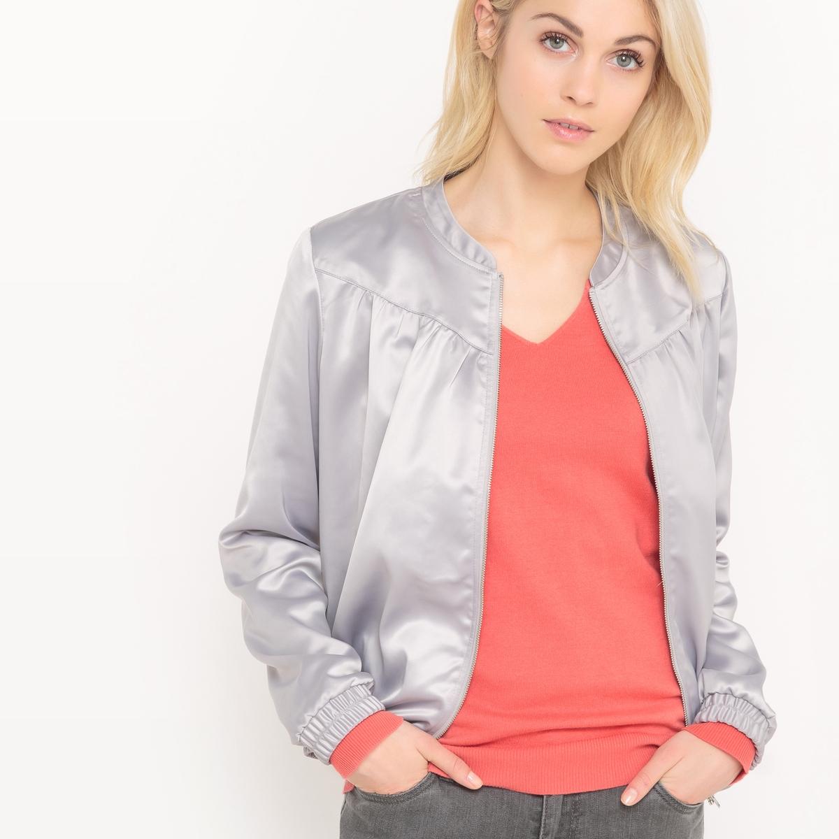 Куртка-бомбер с атласным эффектом