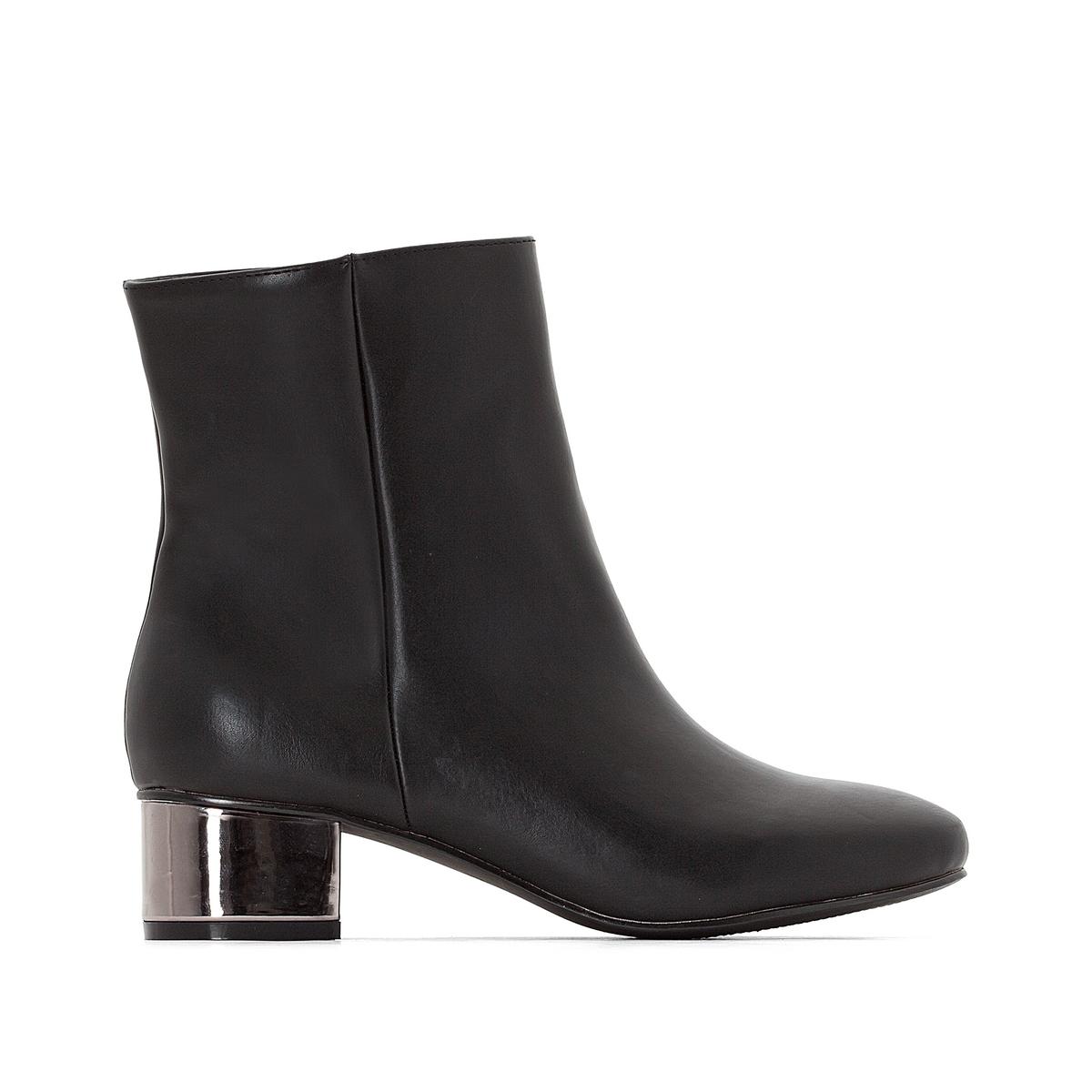 Ботильоны на оригинальном каблуке для широкой стопы 38-45Описание:Детали •  Высота голенища : 14 см для размера 38 •  Высота каблука : 5 см •  Застежка : на молнию •  Круглый мысок •  Гладкая отделкаСостав и уход •  100% синтетический материал •  Подкладка : 100% текстиль •  Стелька : 100% кожа •  Подошва : 100% эластомер<br><br>Цвет: черный<br>Размер: 40