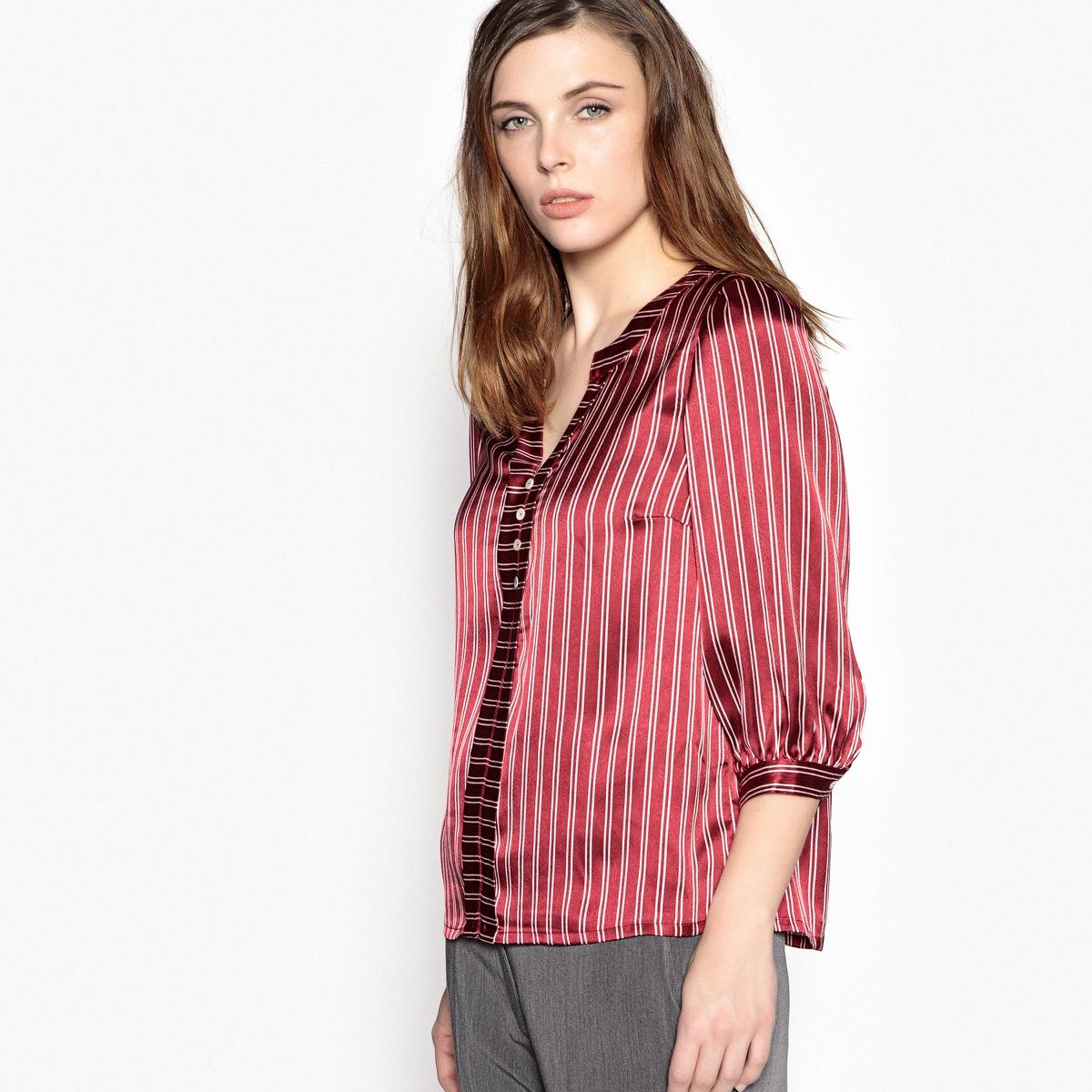 Блузка в полоску с рукавами 3/4 футболка в полоску из струящейся ткани