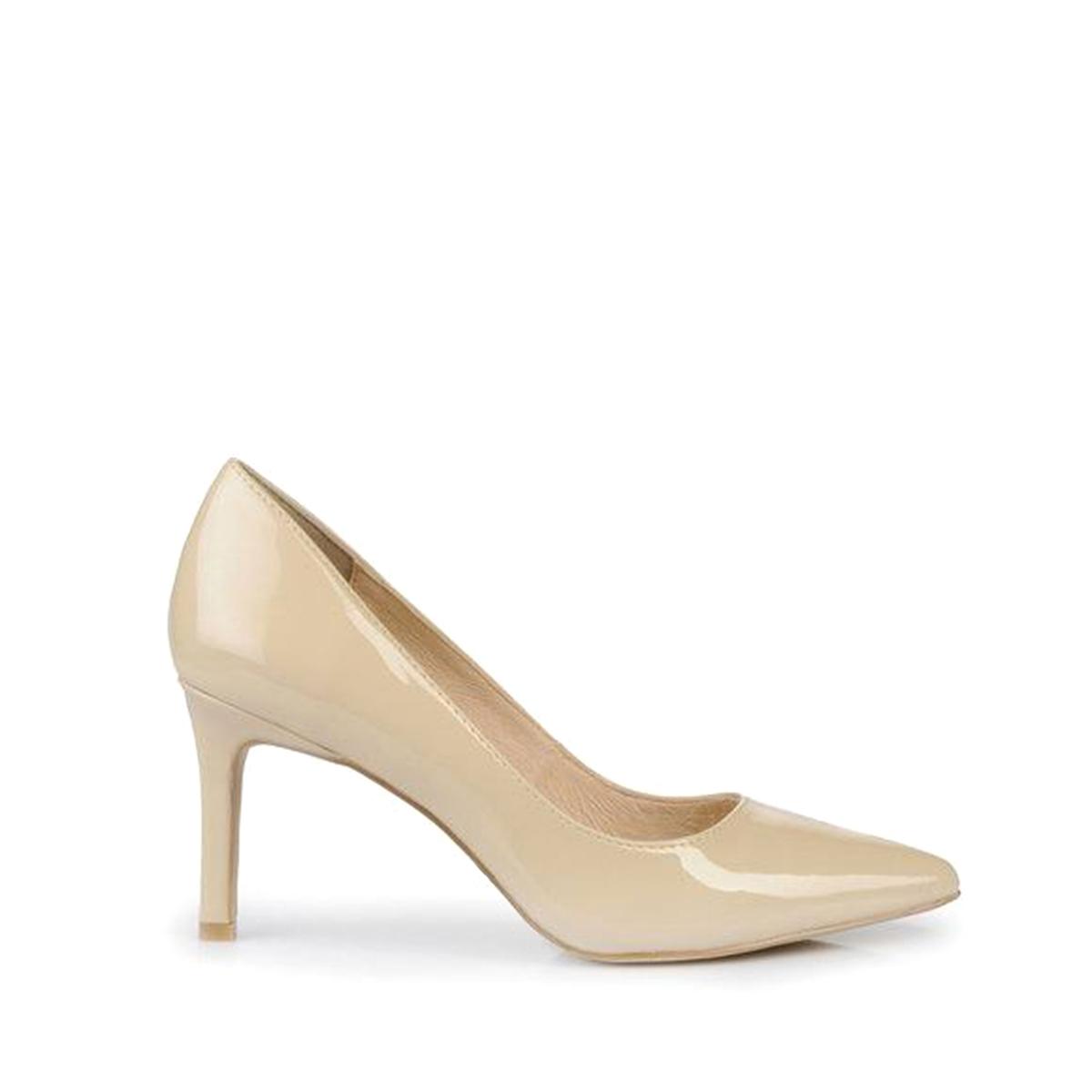 Туфли кожаные H733-C002A-4Верх : синтетика   Подкладка : Кожа.   Стелька : синтетика   Подошва : синтетика   Высота каблука : 7 см   Форма каблука : шпилька   Мысок : заостренный мысок     Застежка : без застежки<br><br>Цвет: телесный,черный<br>Размер: 39