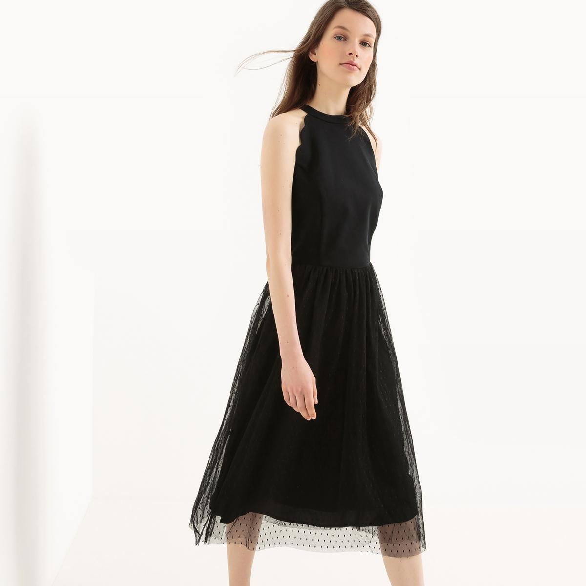 Платье расклешенное средней длины без рукавов