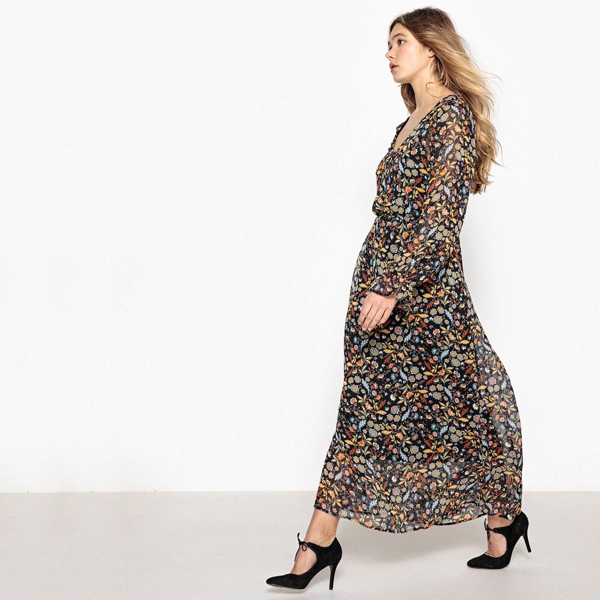 Платье длинное из полиэстера с длинными рукавами