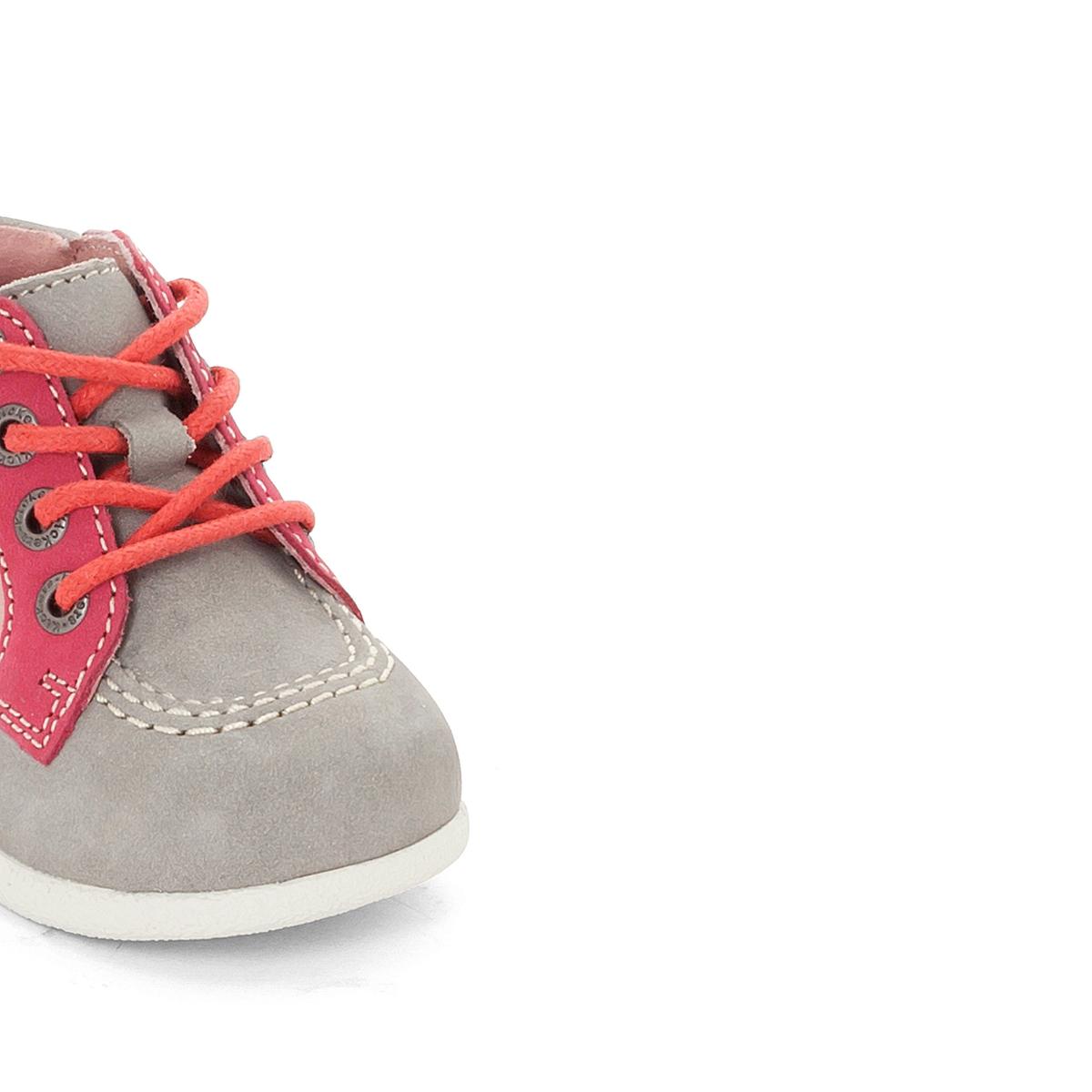 Ботинки BabystanВерх : нубук   Подкладка : Без подкладки   Стелька : ВелюрПодошва : Каучук   Застежка : Шнуровка<br><br>Цвет: светло-серый/розовый<br>Размер: 19