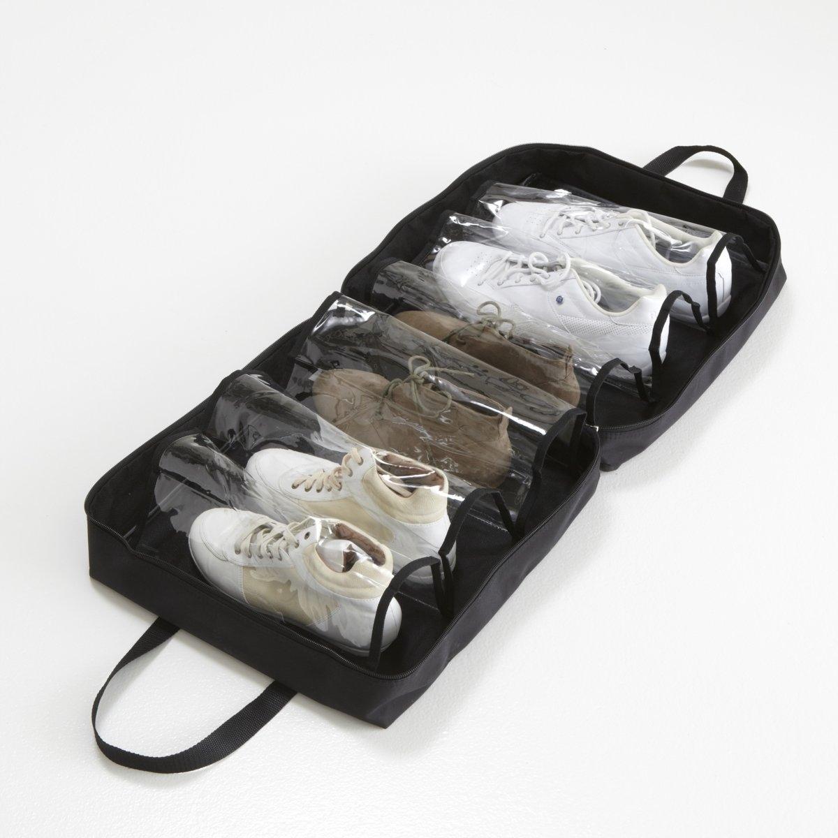 Сумка для обуви LA REDOUTEСумка для обуви с 6 прозрачными отделениями. Из полиэстера и ПВХ. Размер: 30 х 48 х 48 см.<br><br>Цвет: черный<br>Размер: единый размер