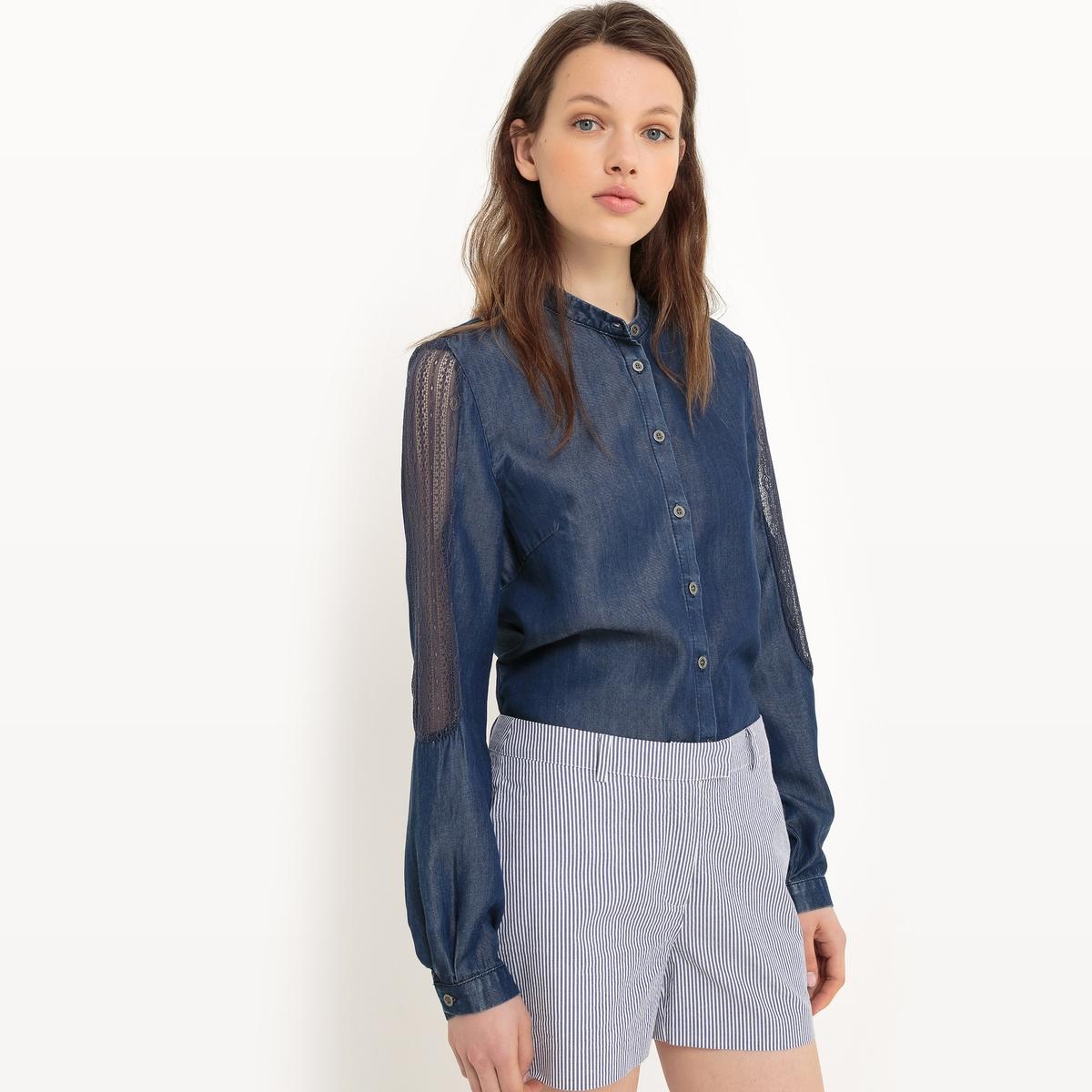 Рубашка из тенселя, длинные рукаваМатериал : 100% лиоцелл  Покрой : прямой Длина рукава : длинные рукава Форма воротника : Воротник-стойка Длина блузки : стандартная Покрой : прямой Рисунок : однотонная модель<br><br>Цвет: темно-синий