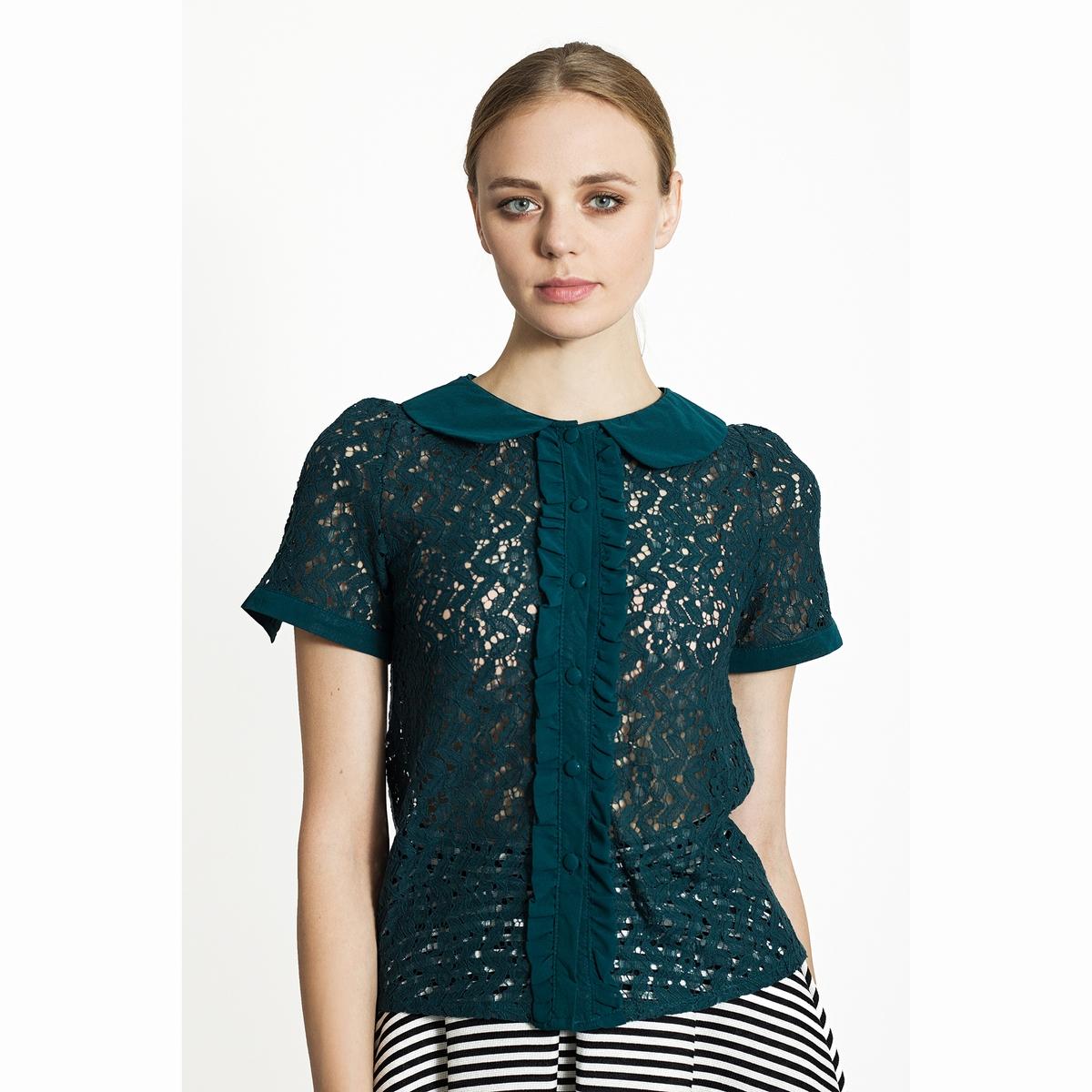 Блузка кружевная с отложным воротником