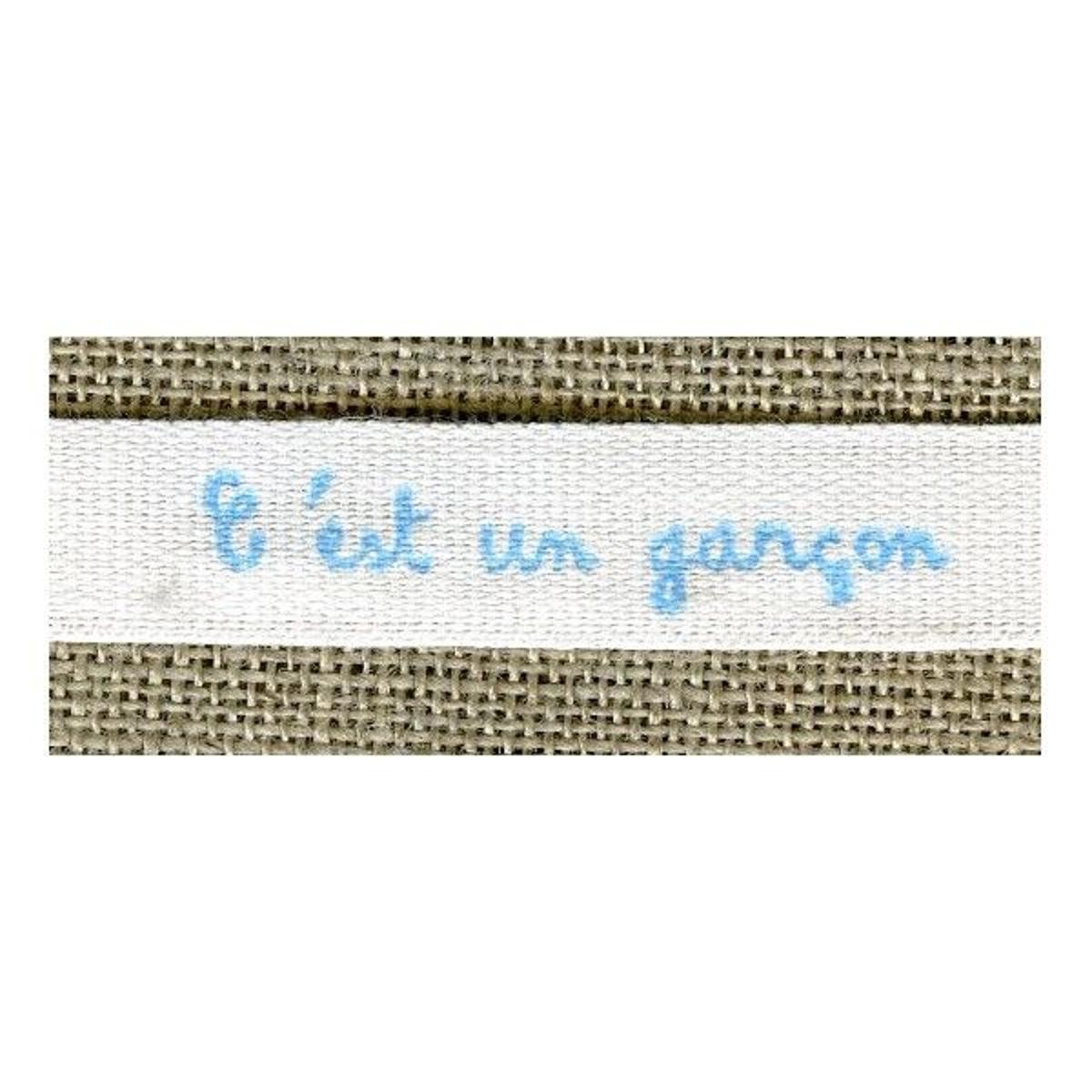 Ruban Imprimé Blanc Lettrage Bleu: C'est Un Garçon