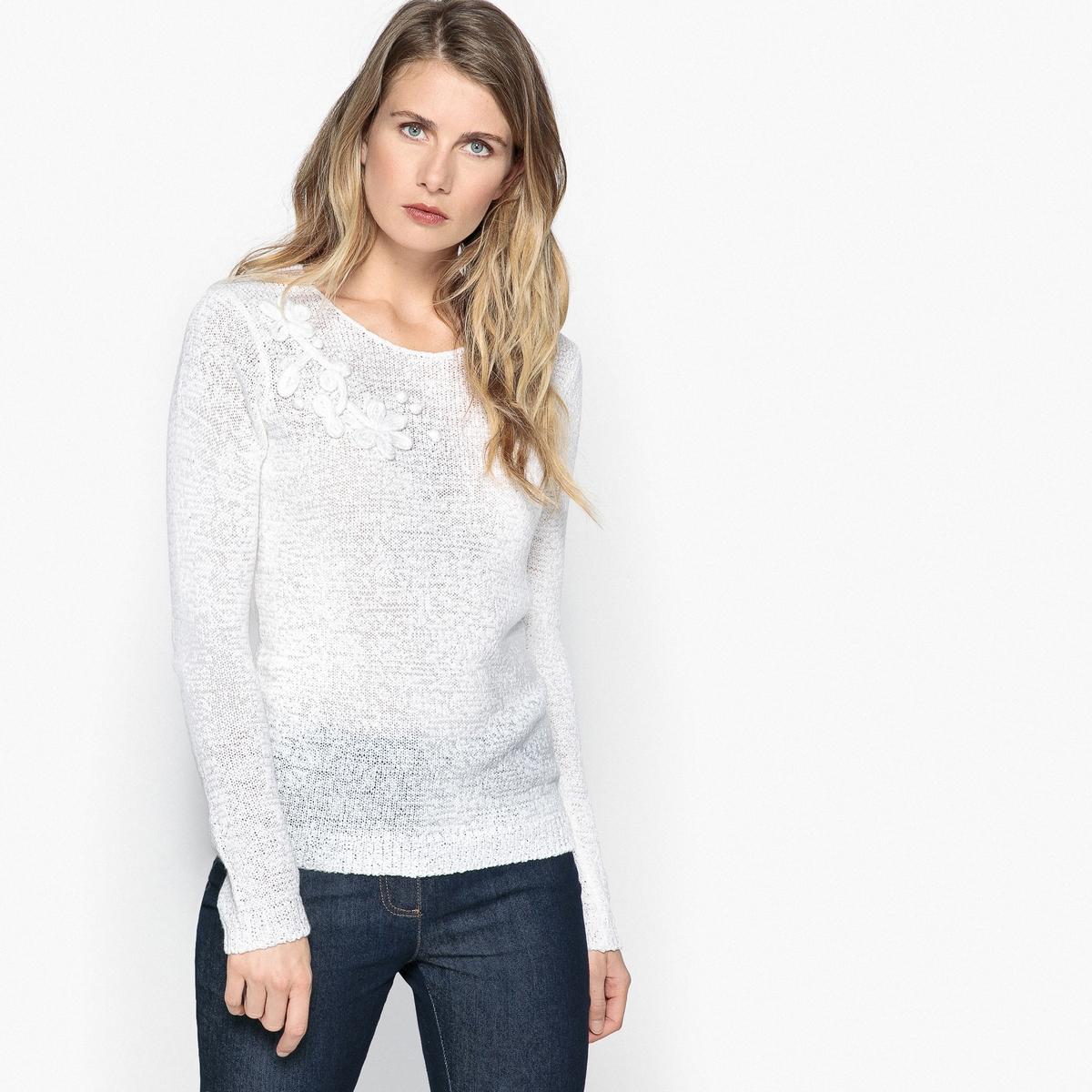 Пуловер с круглым вырезом из трикотажа с узором пуловер из плотного трикотажа с v образным вырезом