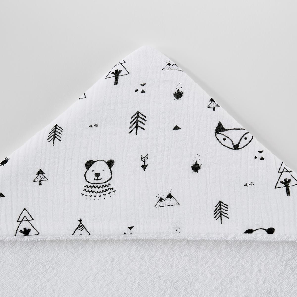 Накидка La Redoute Для ванной детская из хлопчатобумажной газовой ткани Forest camp 70 x 70 см белый хлопок эпохи purcotton детей клип хлопчатобумажной ткани является хорошим другом 120x150cm мешок