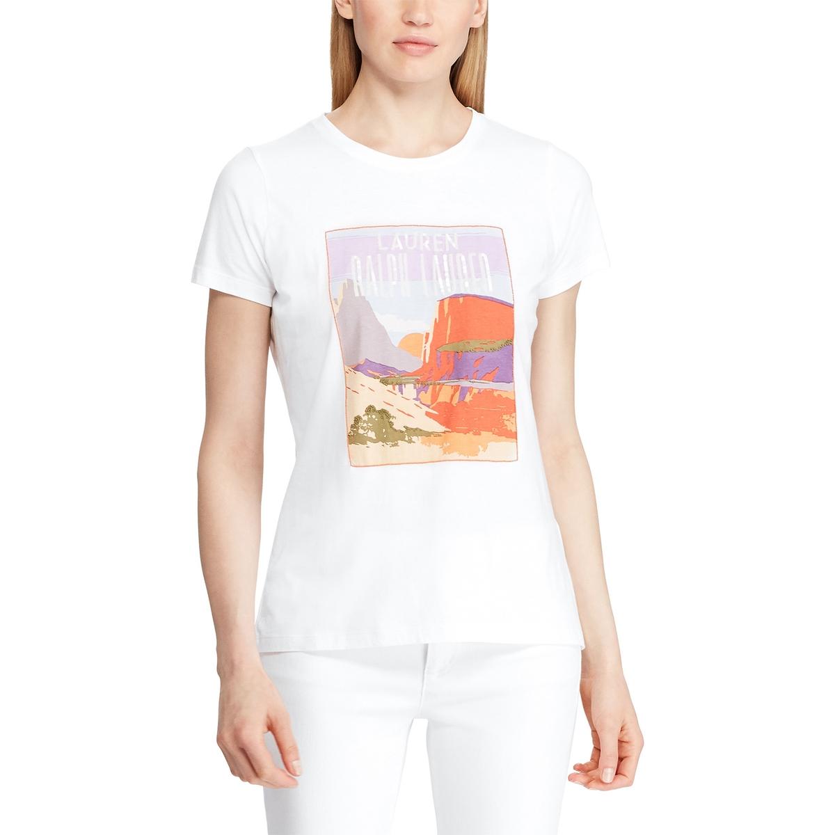 Футболка La Redoute С круглым вырезом короткими рукавами и рисунком спереди M белый футболка la redoute с круглым вырезом и рисунком tova m белый
