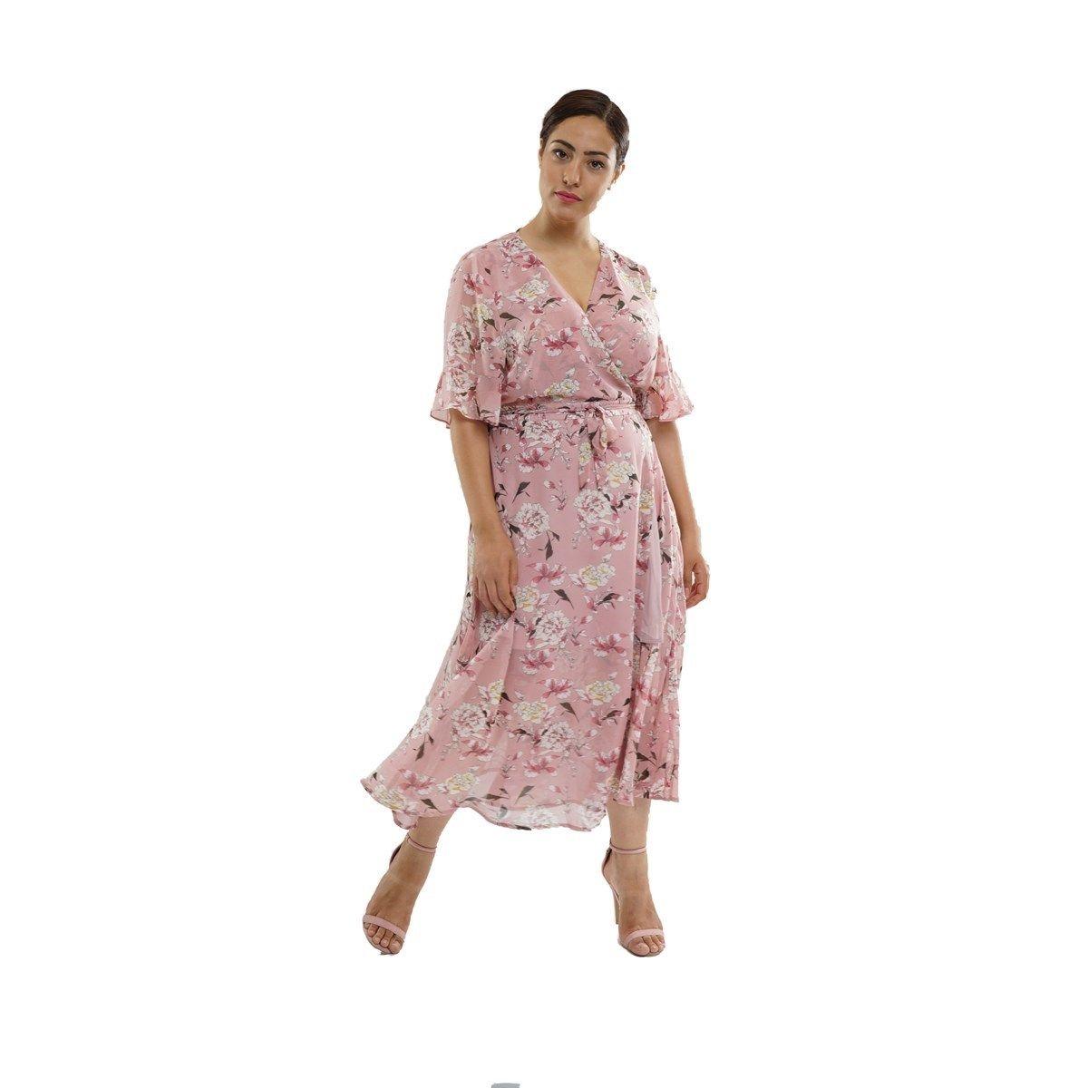 Robe portefeuille longue à imprimé floral grande taille
